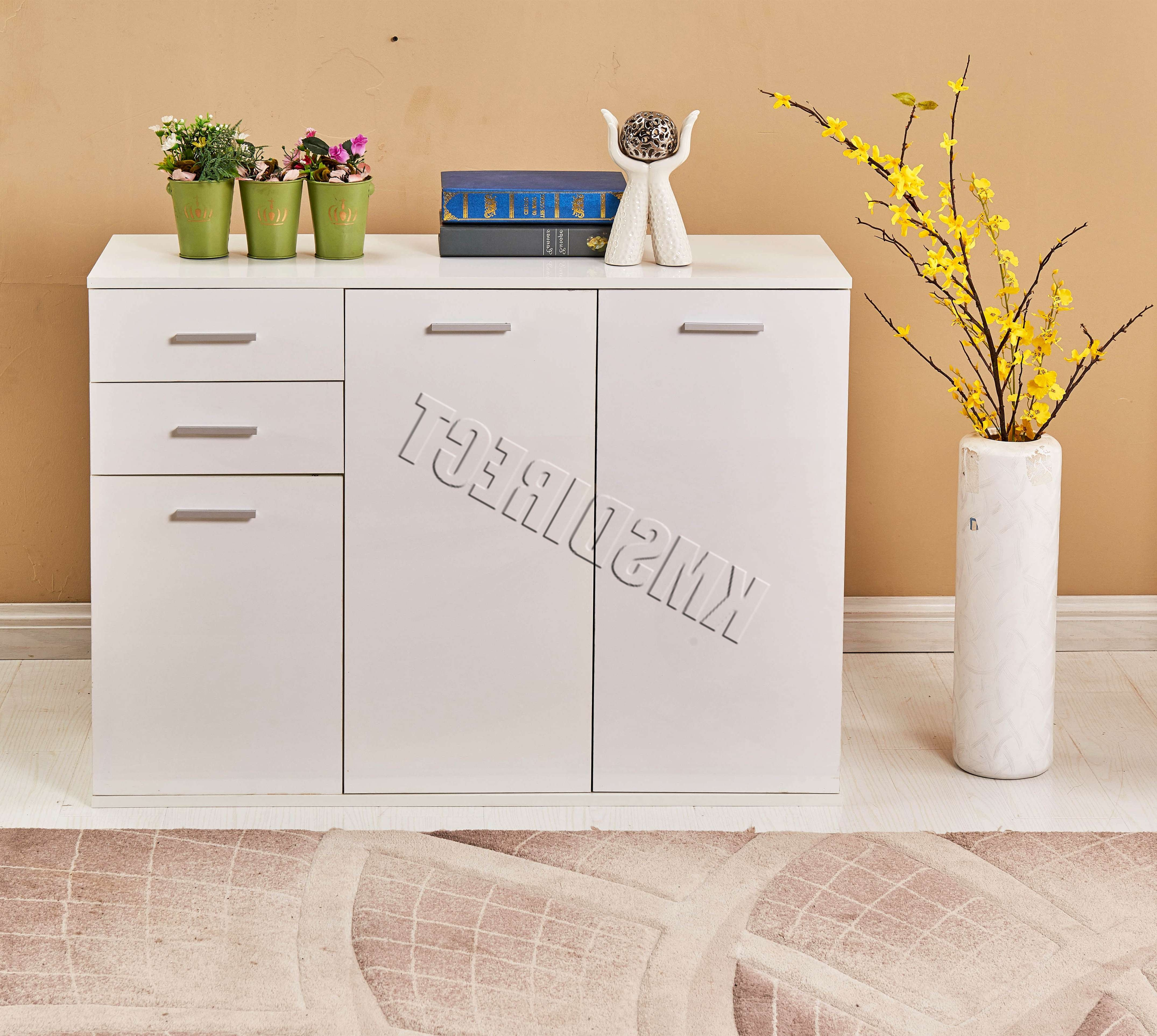 Foxhunter White High Gloss Cabinet Unit Sideboard 2 Drawers 2/3 Pertaining To White High Gloss Sideboards (View 19 of 20)