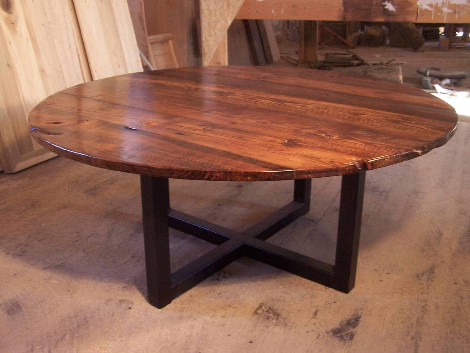Free Shipping Large Round Coffee Table With Industrial Metal Inside Current Industrial Round Coffee Tables (View 6 of 20)