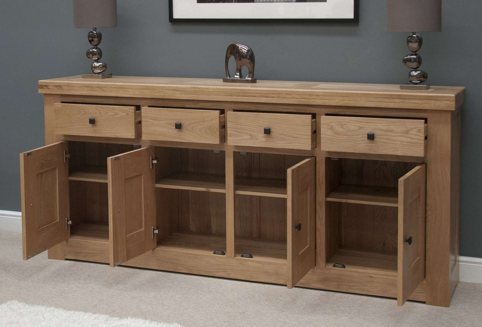 French Bordeaux Oak Extra Large 4 Door Sideboard | Oak Furniture Uk Intended For Wooden Sideboards (View 7 of 20)