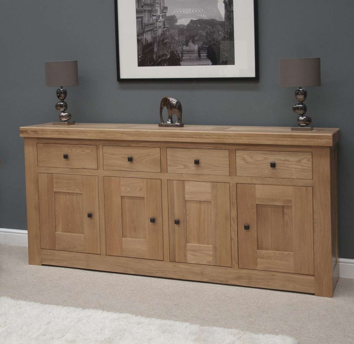 French Bordeaux Oak Extra Large 4 Door Sideboard | Oak Furniture Uk With Regard To Hallway Sideboards (View 1 of 20)