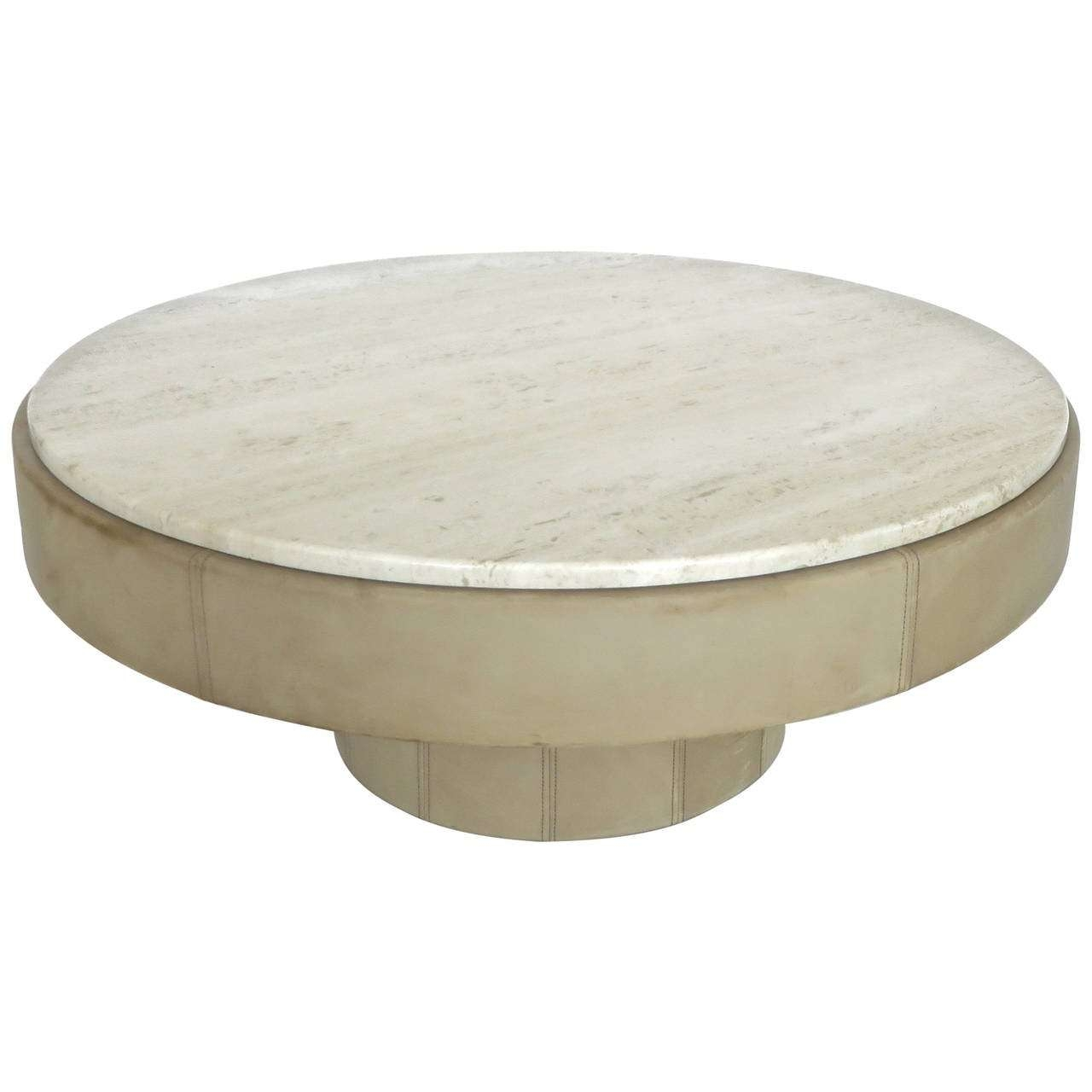 French Cream Leather And Travertine Marble Round Coffee Table At Throughout Favorite Marble Round Coffee Tables (View 5 of 20)