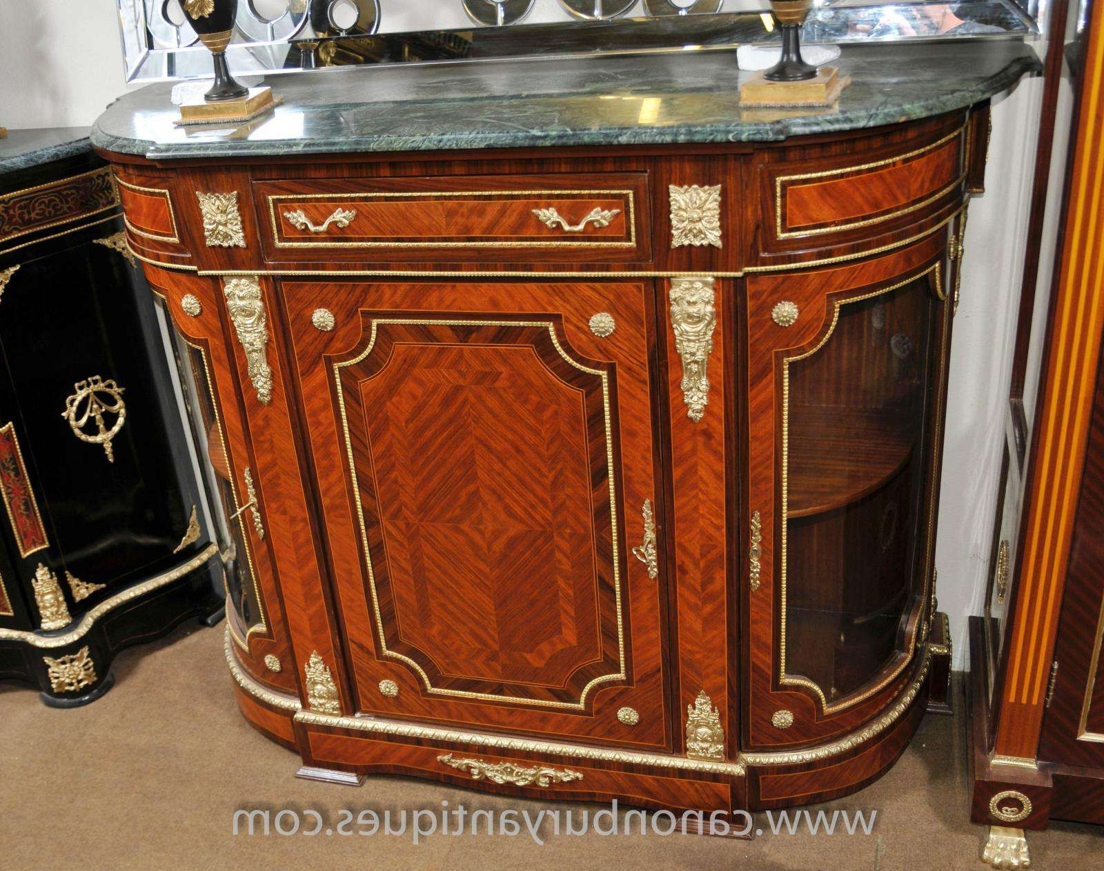 French Empire Cabinet Sideboard Kingwood Marble Top Credenza Pertaining To Marble Top Sideboards (View 4 of 20)