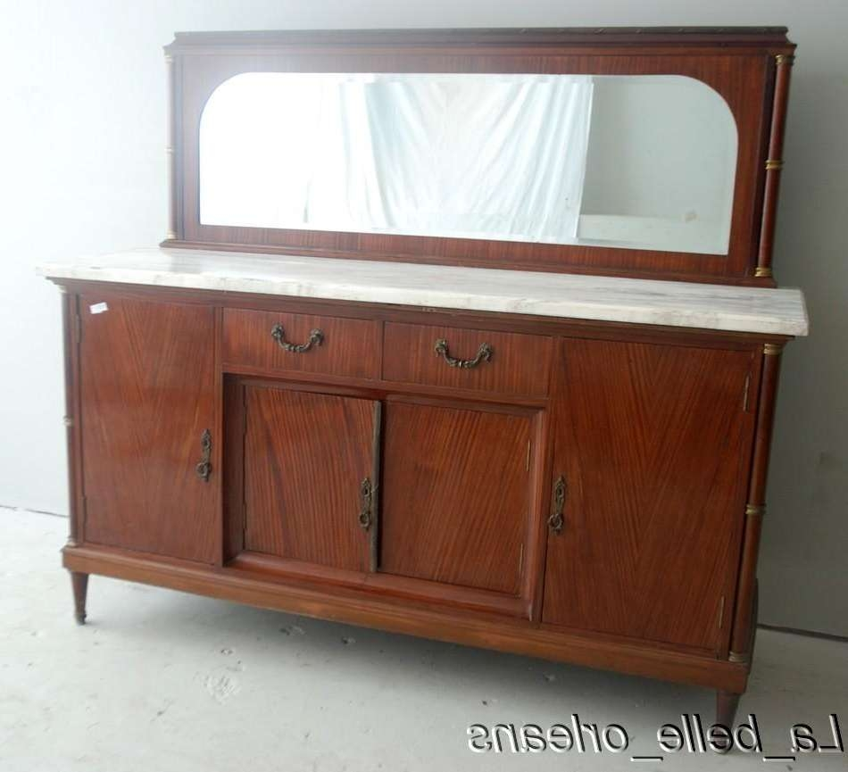 French Empire Sideboard/buffet Marble Top And Mirror !! For Sale Throughout Antique Marble Top Sideboards (View 6 of 20)