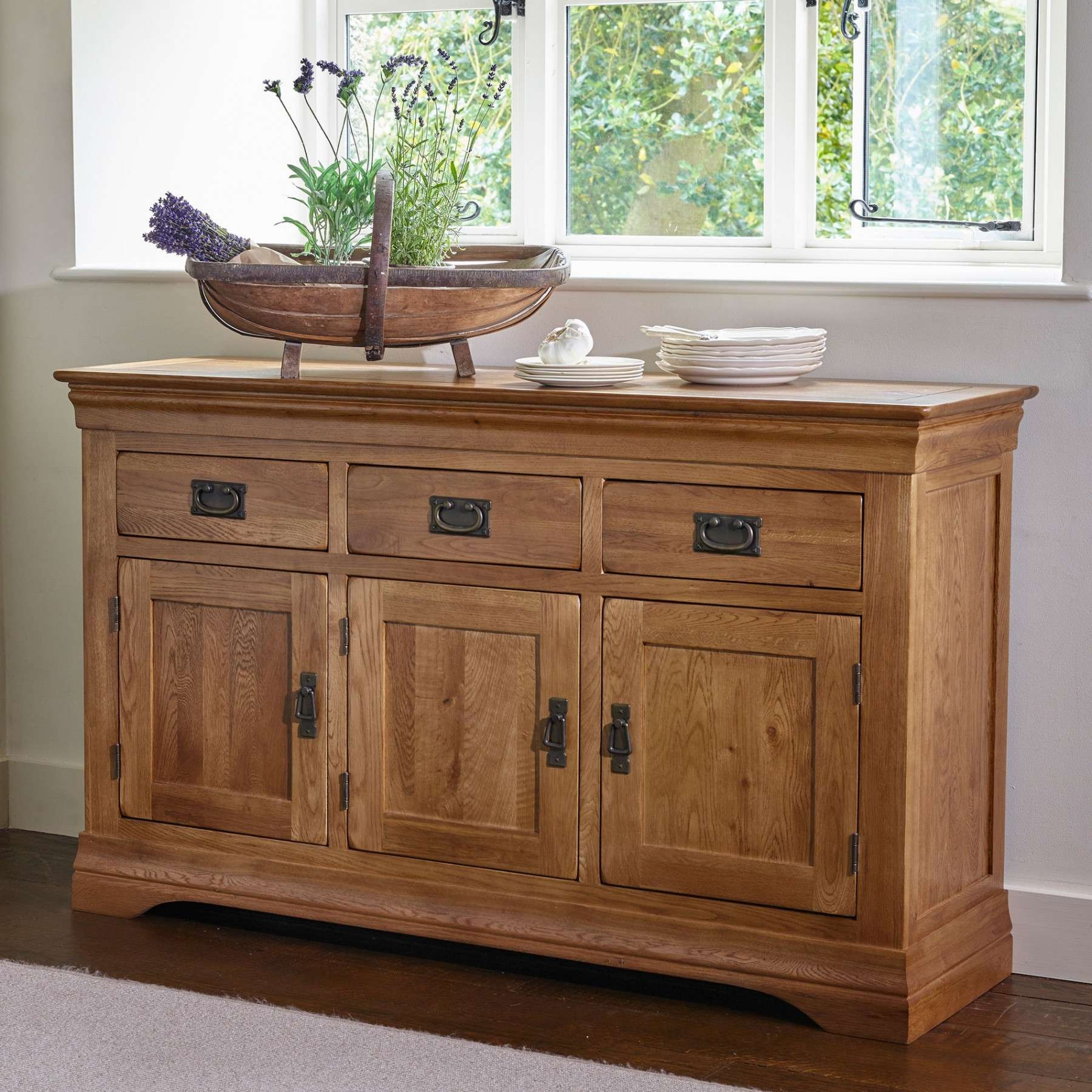 French Farmhouse Rustic Solid Oak Large Sideboard | Sideboards With Regard To Rustic Oak Large Sideboards (View 7 of 20)