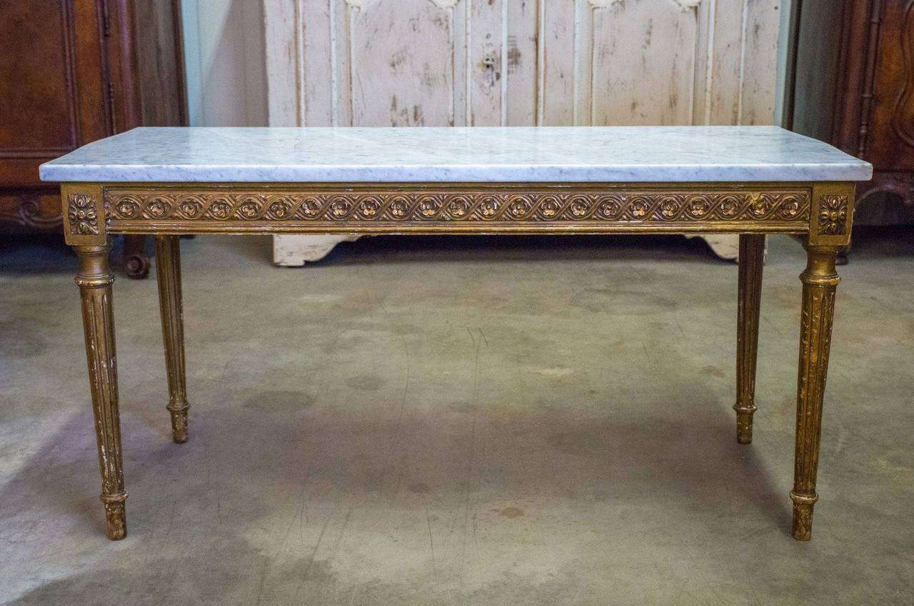 French Louis Xvi Style Gilded Coffee Table With Marble Top For Regarding Widely Used French Style Coffee Tables (View 6 of 20)