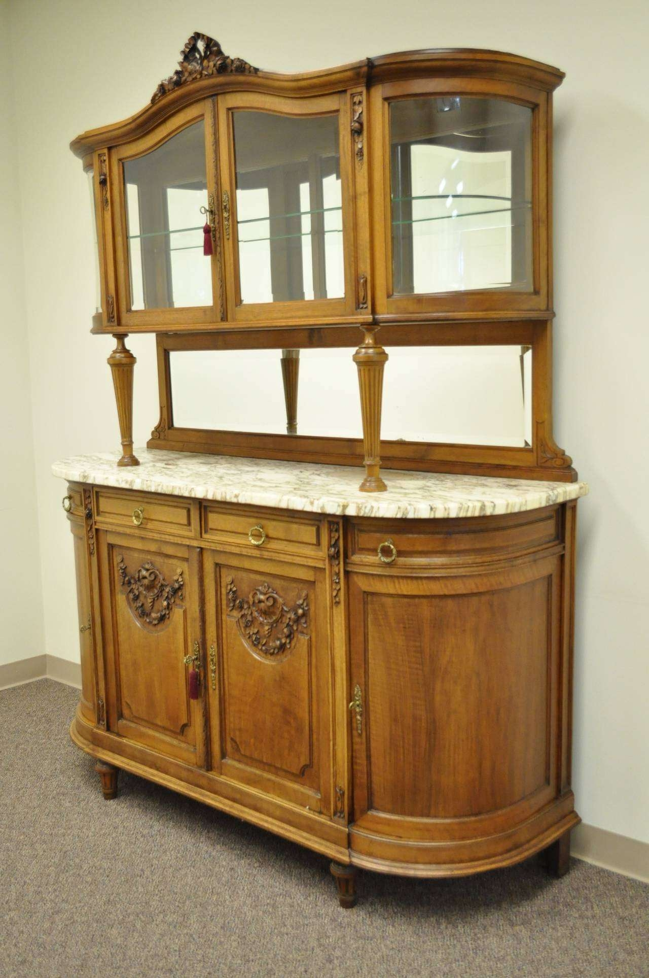 French Louis Xvi Style Marble Top Sideboard Or Curio Cabinet Inside Antique Marble Top Sideboards (View 8 of 20)