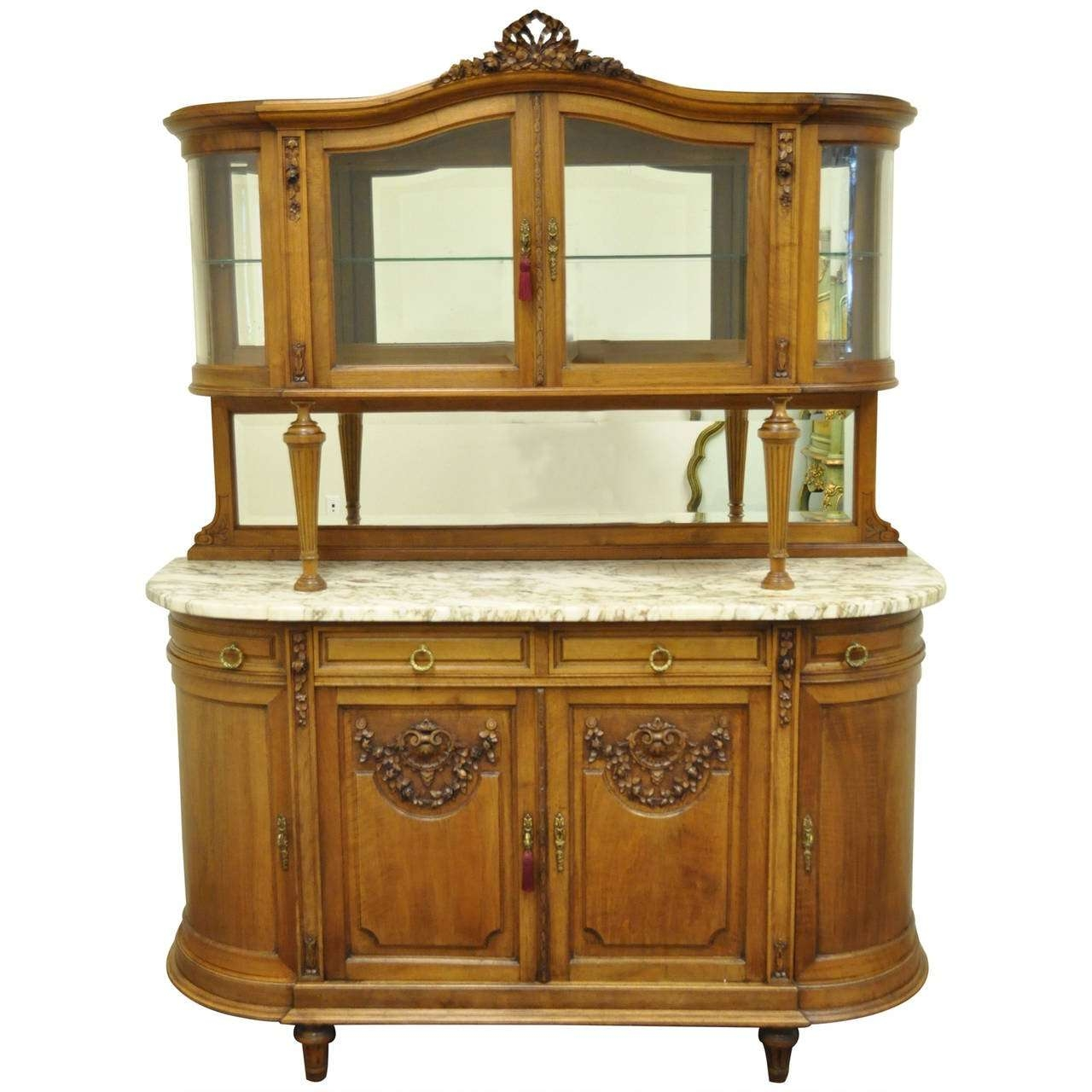 French Louis Xvi Style Marble Top Sideboard Or Curio Cabinet Inside Antique Marble Top Sideboards (View 7 of 20)