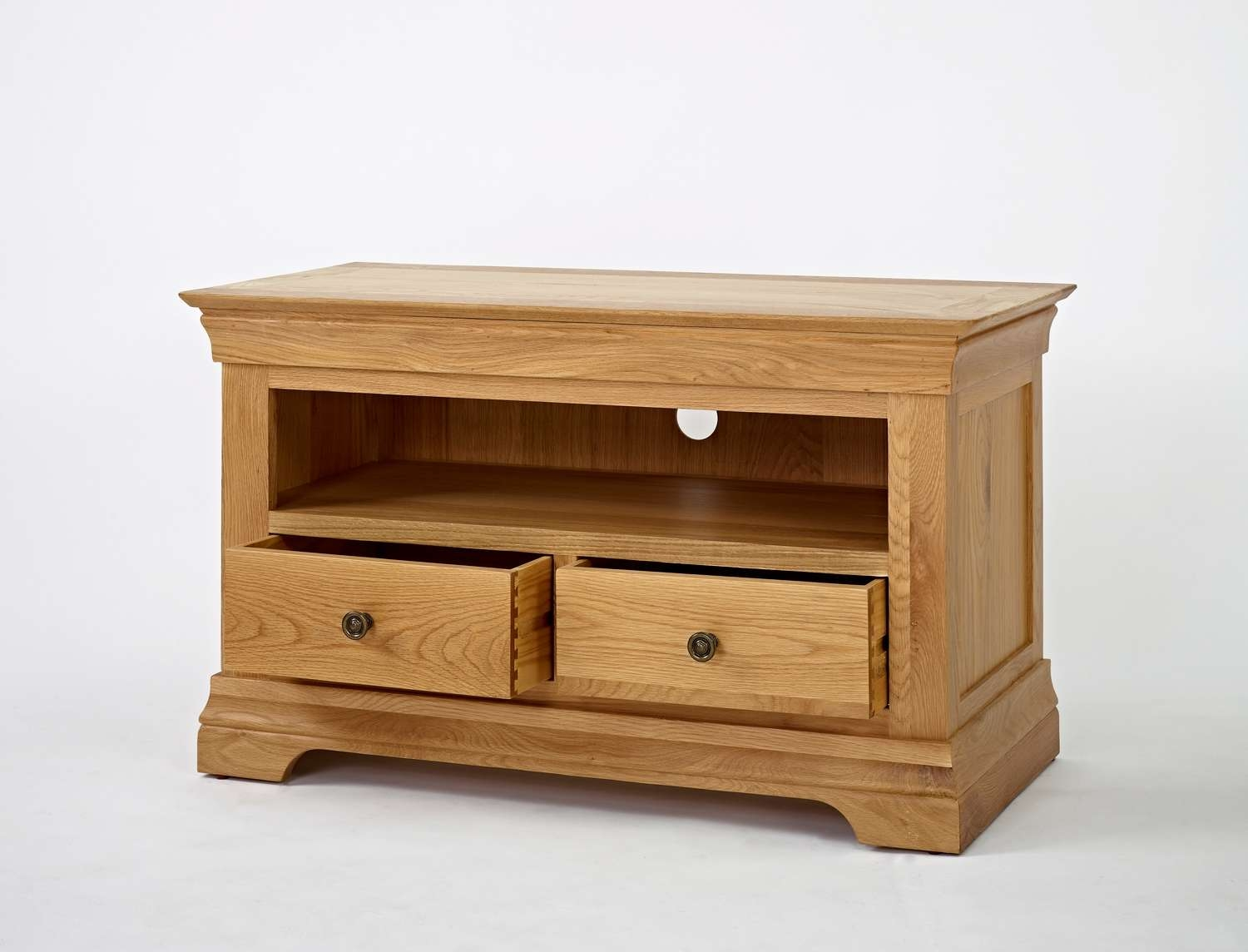 French Modern Oak Small Tv Unit | Hampshire Furniture Pertaining To Small Oak Tv Cabinets (View 7 of 20)