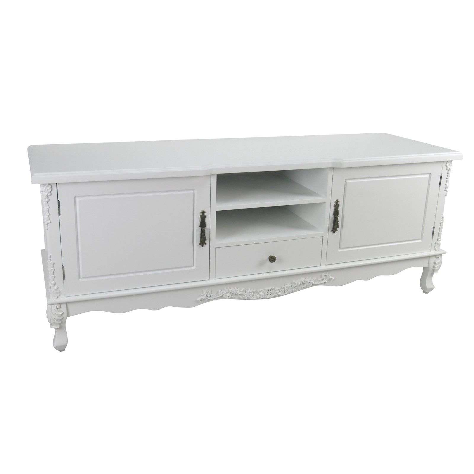 French Style White Large Cabinet Tv Unit Furniture – La Maison Within White Painted Tv Cabinets (View 6 of 20)