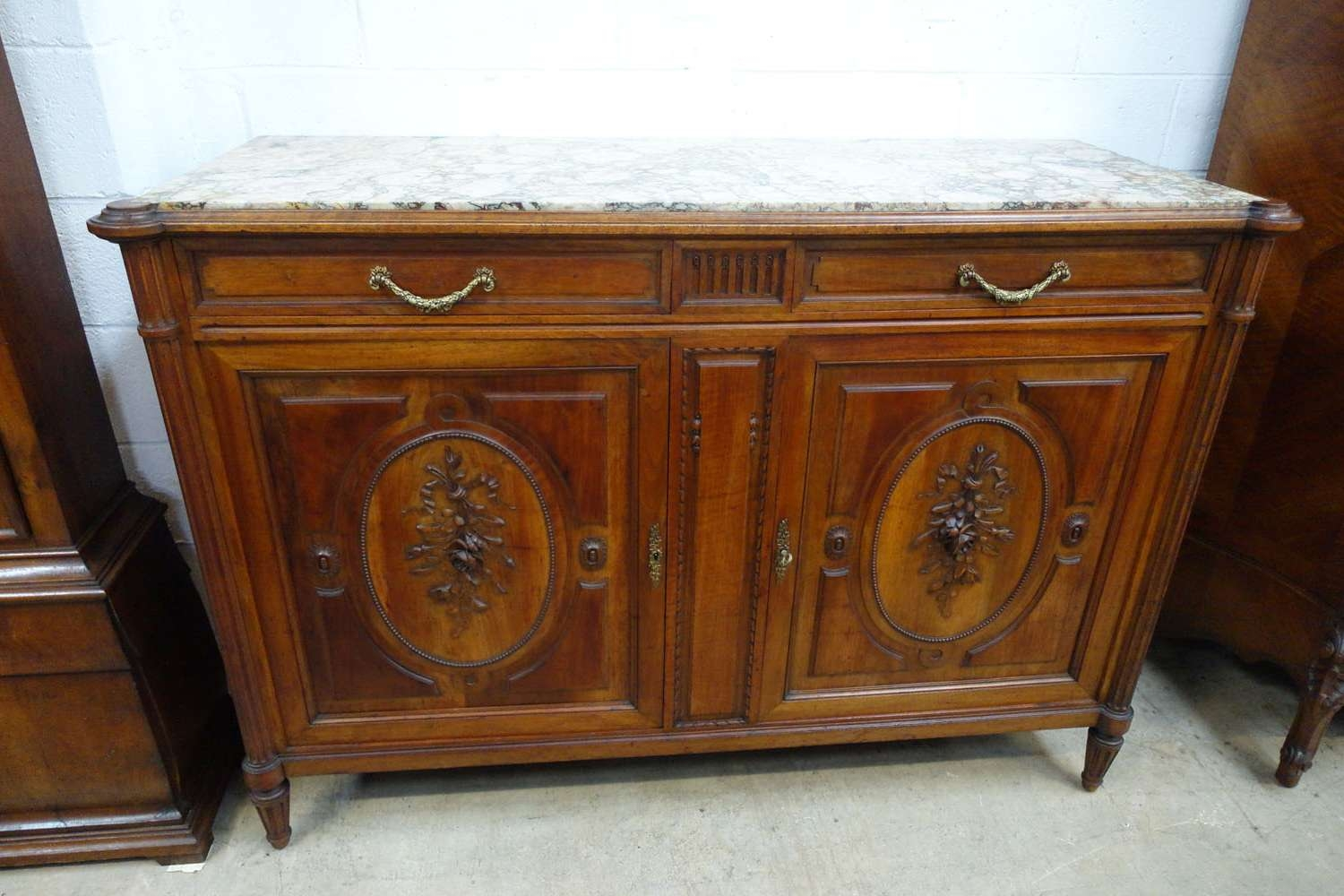 French Walnut Marble Top Sideboard – French Antiques Melbourne Inside Antique Marble Top Sideboards (View 10 of 20)