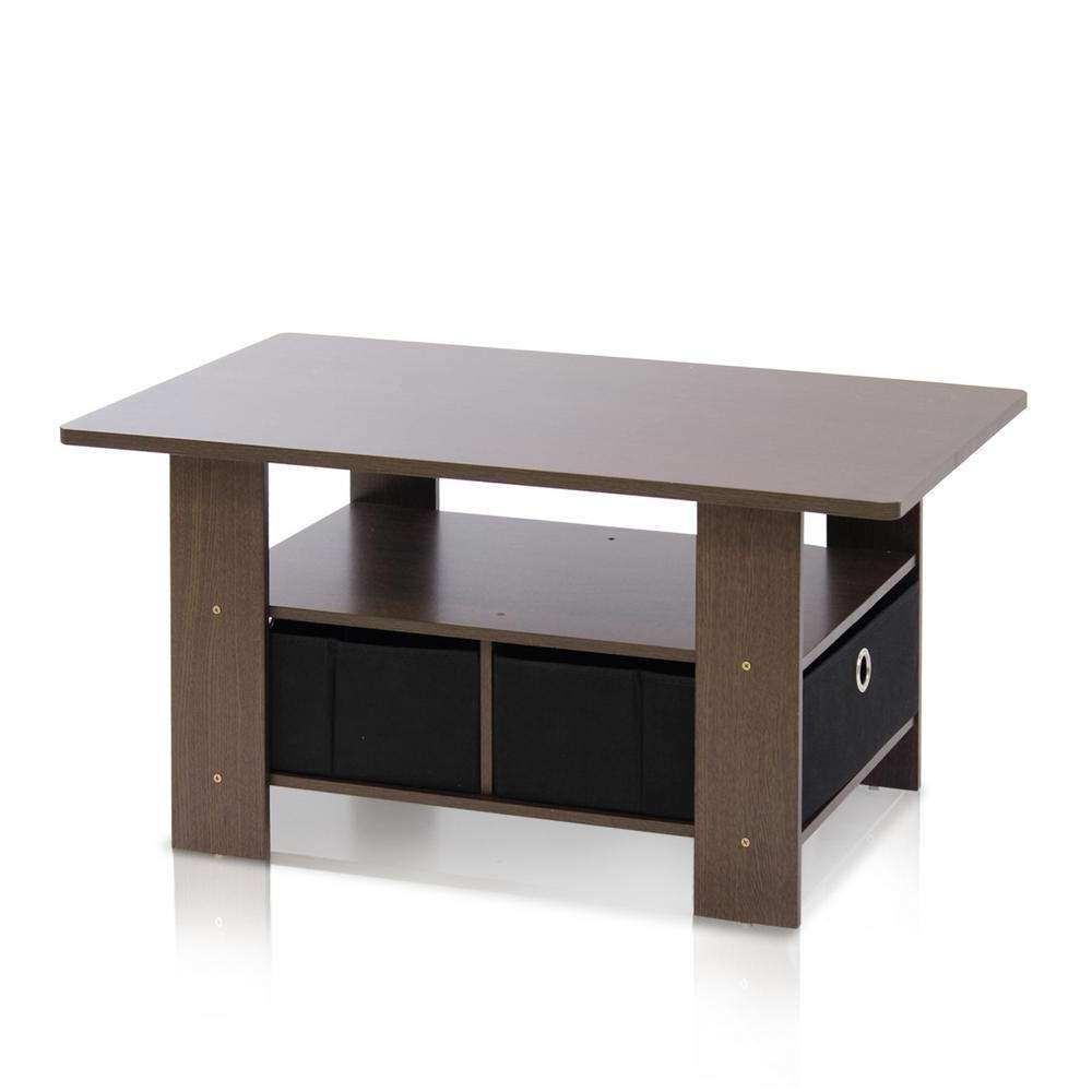 Furinno Home Living Dark Brown And Black Built In Storage Coffee Regarding Fashionable Dark Coffee Tables (View 13 of 20)