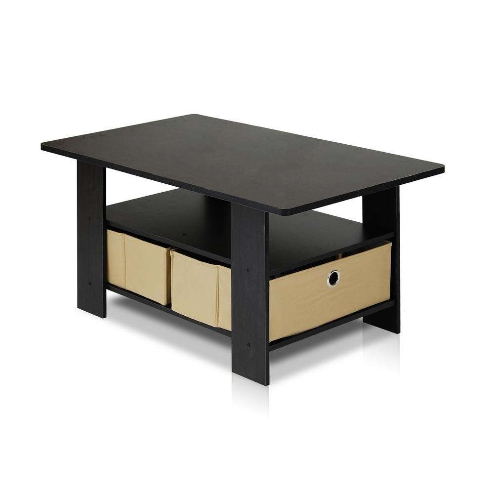 Furinno Home Living Espresso And Brown Built In Storage Coffee In Most Popular Storage Coffee Tables (View 8 of 20)