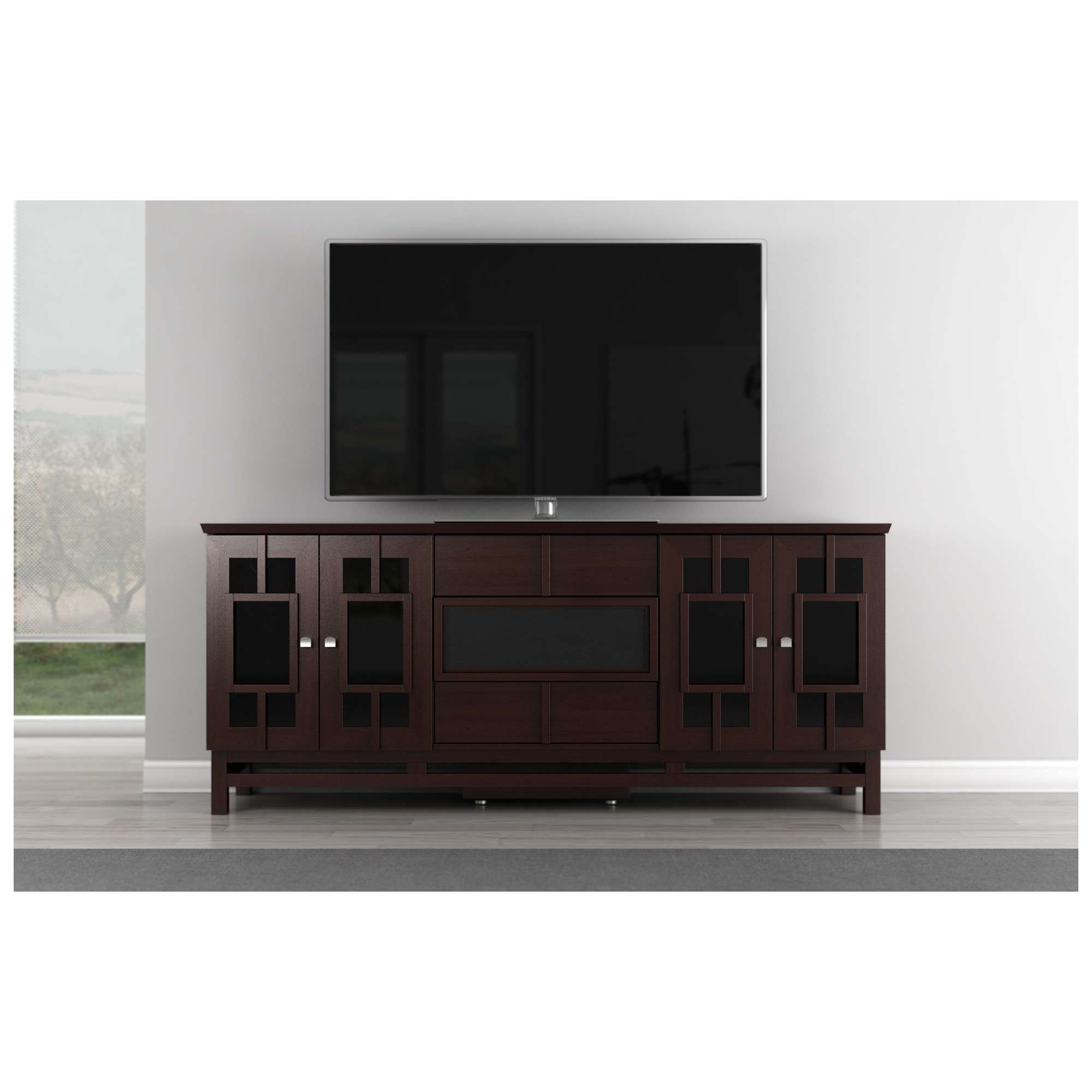"""Furnitech Ft72acw 70"""" Tv Stand Asian Inspired Media Cabinet W Throughout Asian Tv Cabinets (View 6 of 20)"""