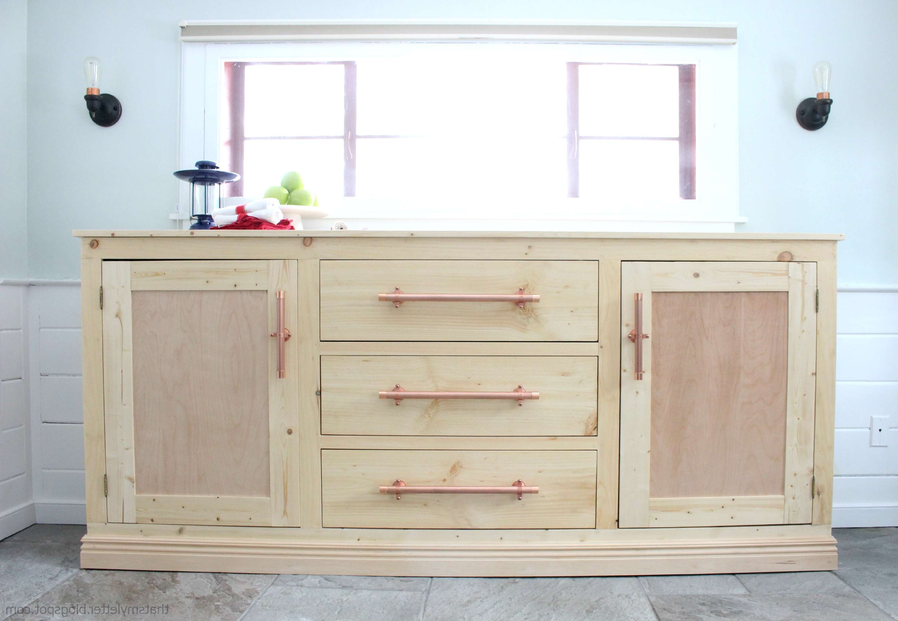 Furniture: Antique Dark Sideboard Buffet With Three Drawers On With Regard To Sideboards With Drawers (View 12 of 20)