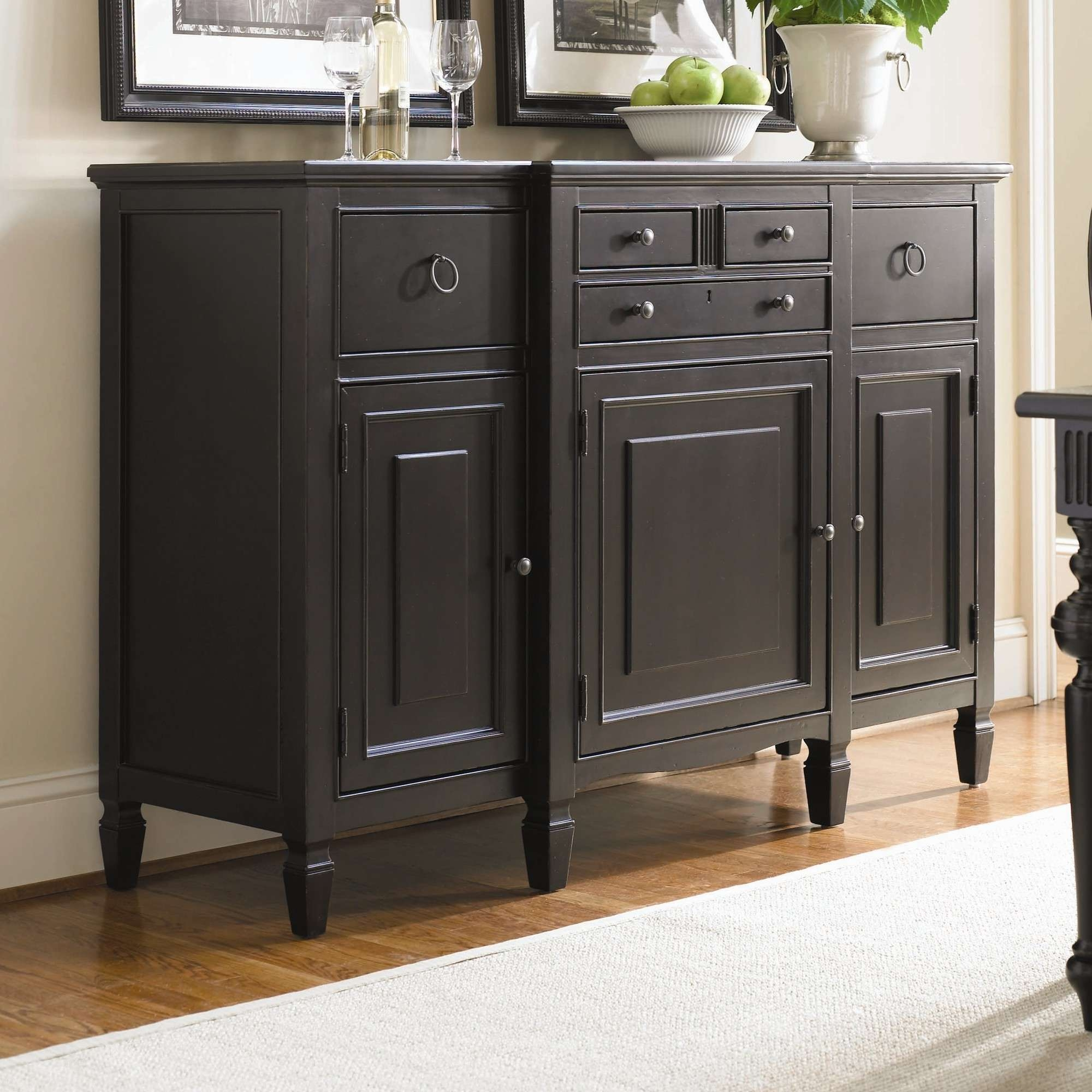 Furniture: Antique Dark Sideboard Buffet With Three Drawers On Within Dining Room Sideboards And Buffets (View 9 of 20)