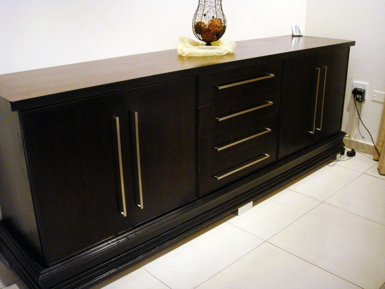 Furniture: Antique Dark Sideboard Buffet With Three Drawers On Within Elegant Sideboards (View 5 of 20)