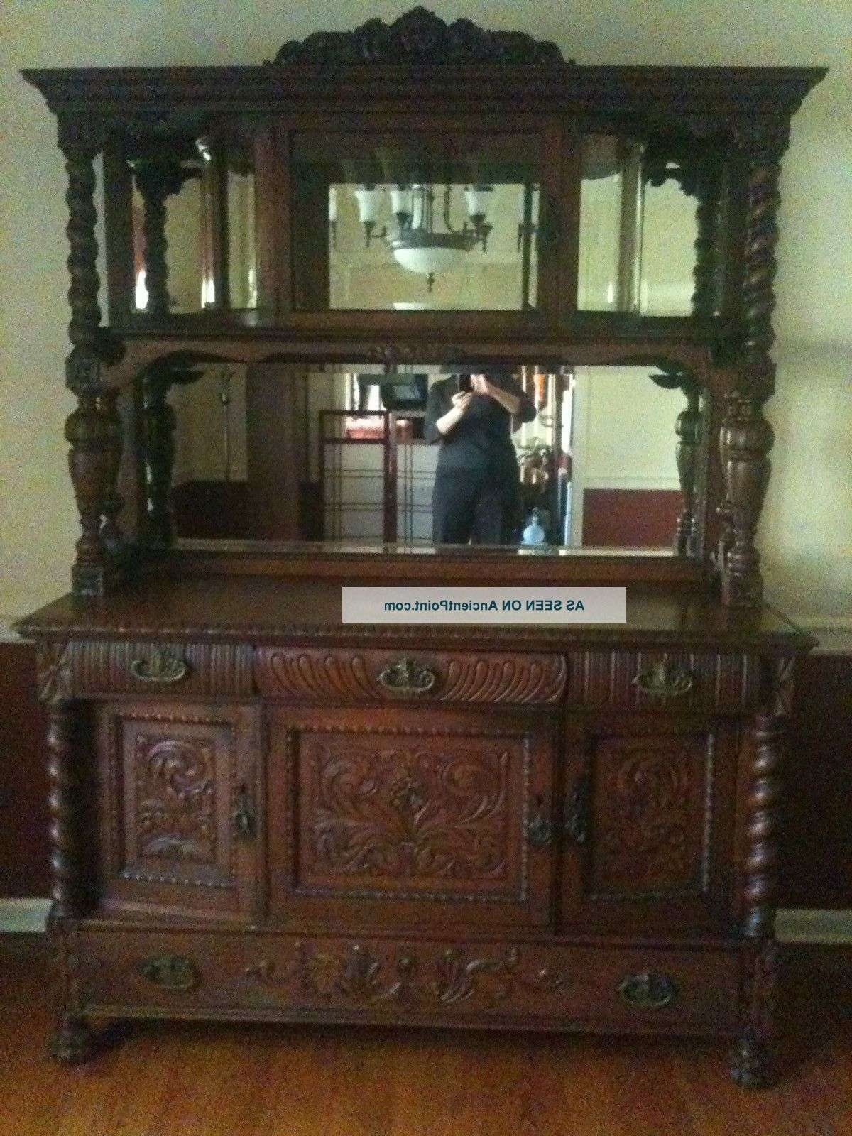 Furniture: Antique Oak Sideboard Buffet With Beveled Glass With Regard To Mirrored Sideboards And Buffets (View 4 of 20)