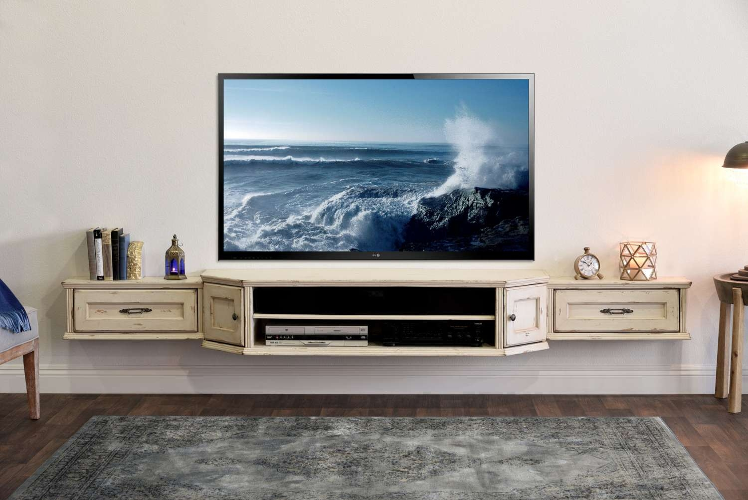 Furniture: Comfy Floating Tv Stand For Home Furniture Ideas With Pertaining To Floating Tv Cabinets (View 8 of 20)