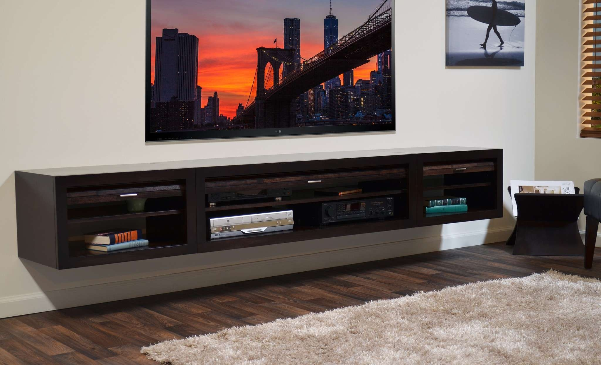 Furniture: Cute Floating Tv Stand For Home Furniture Ideas With Pertaining To Wall Mounted Under Tv Cabinets (View 9 of 20)