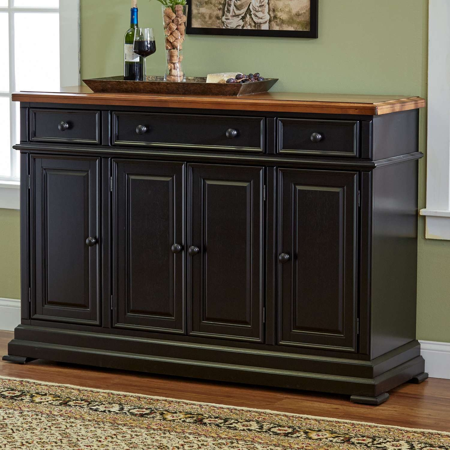 Furniture: Dark Wood Flooring And White Sideboard Buffet And Regarding Black Sideboards And Buffets (View 6 of 20)
