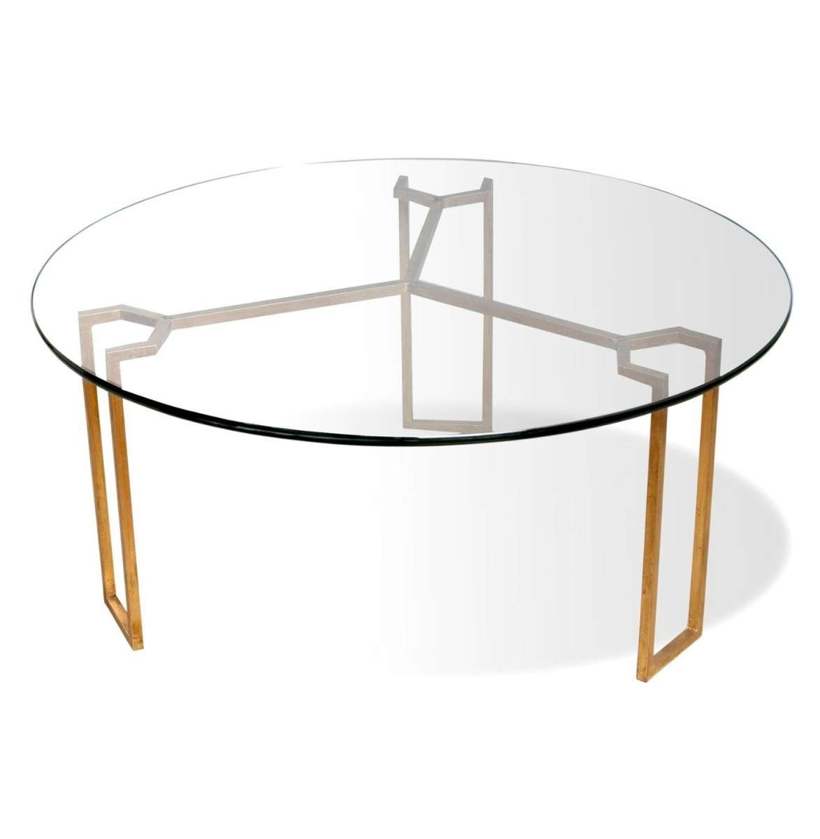 Furniture: Glass Contemporary Round Coffee Tables With Gold Metal Intended For Most Recently Released Glass Circular Coffee Tables (View 8 of 20)