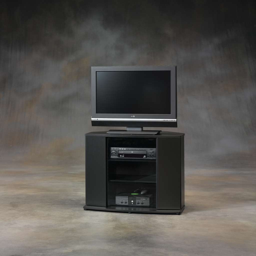 Furniture: Interesting Sauder Tv Stand For Home Furniture Ideas Inside Black Corner Tv Cabinets (View 12 of 20)