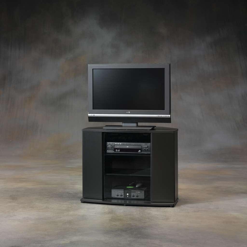 Furniture: Interesting Sauder Tv Stand For Home Furniture Ideas Inside Black Corner Tv Cabinets (View 20 of 20)
