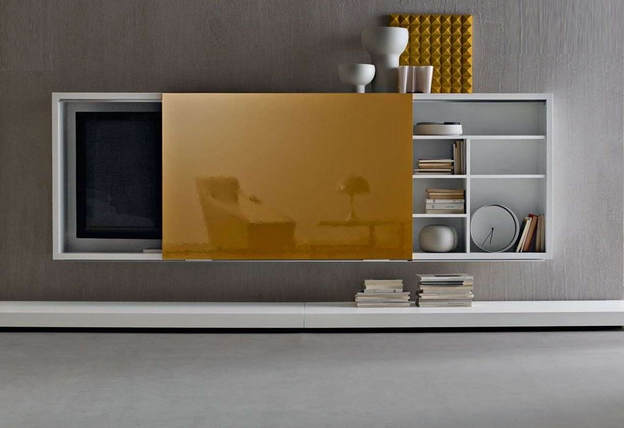 Furniture: Living Room Wall Tv Cabinet With Door And Bookshelf Within Modern Design Tv Cabinets (View 10 of 20)