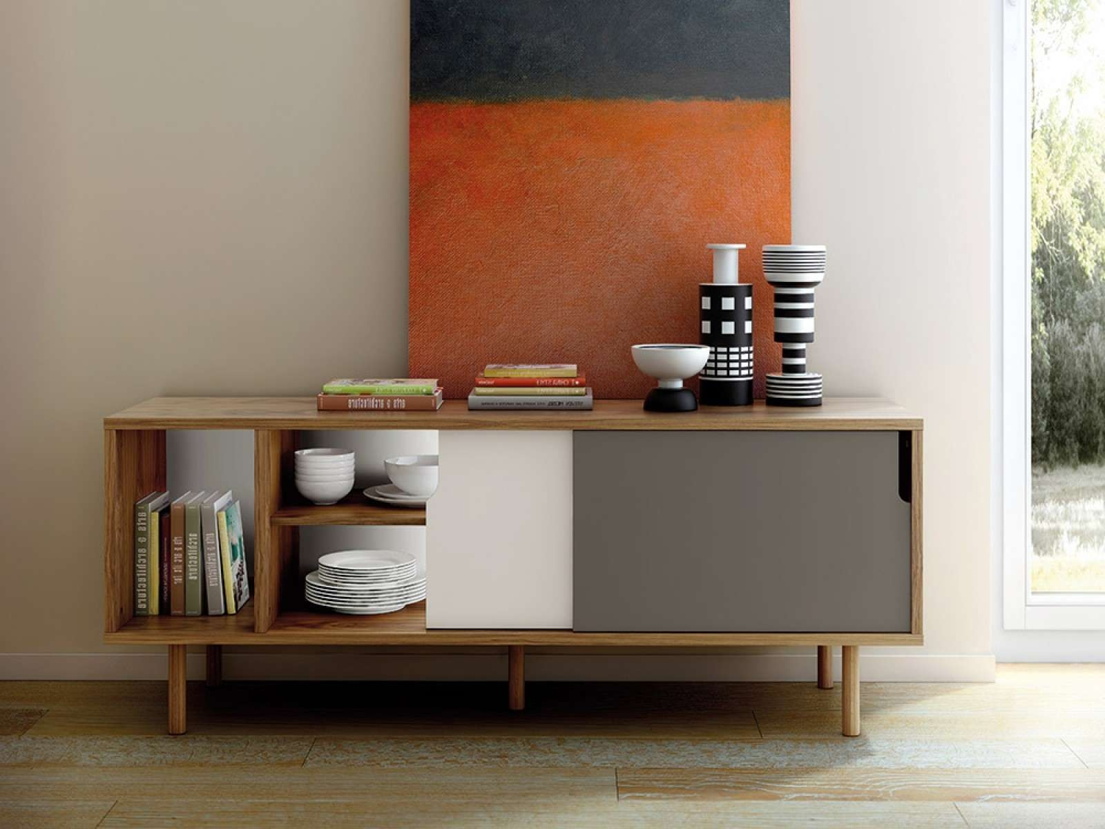 Furniture: Modern Sideboard With Tall Buffet Cabinet Also With Regard To Contemporary Sideboards (View 10 of 20)