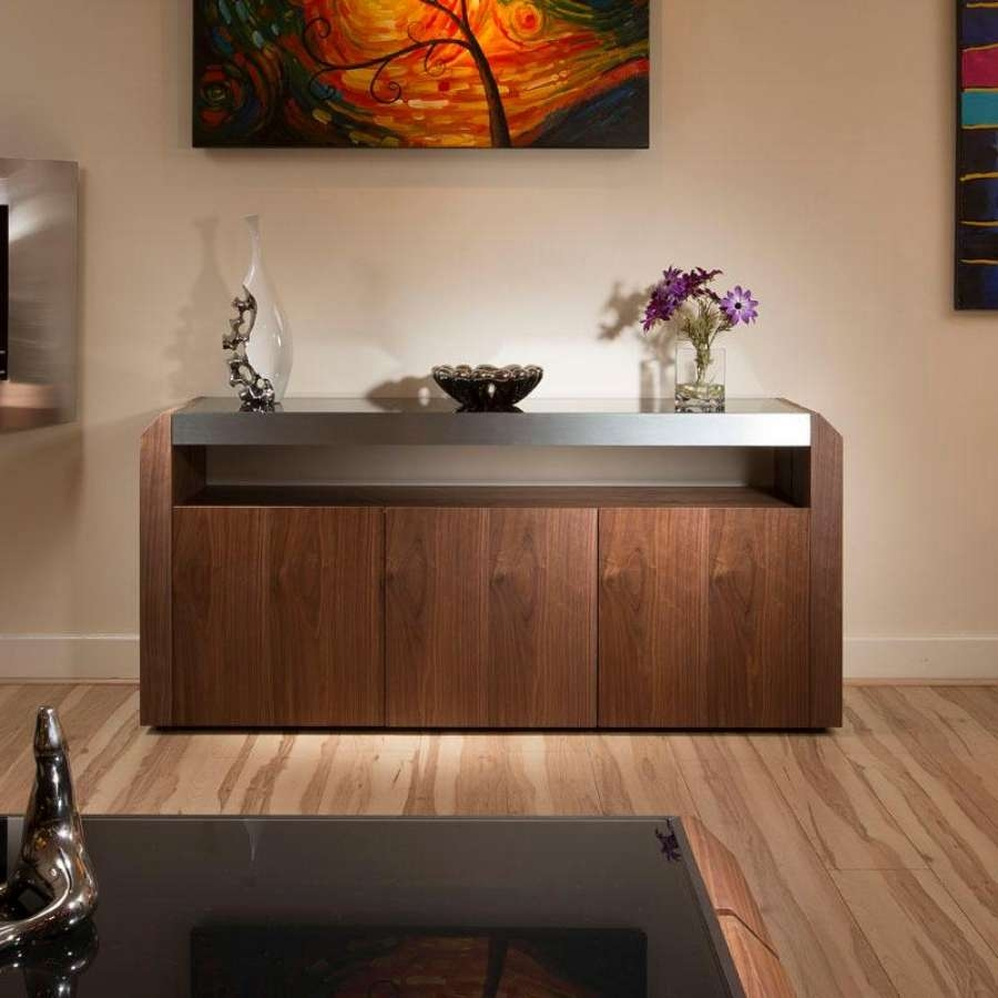 Furniture: Modern Walnut Sideboard Cabinet Buffet Black Glass With Inside Modern Buffet Sideboards (View 7 of 20)