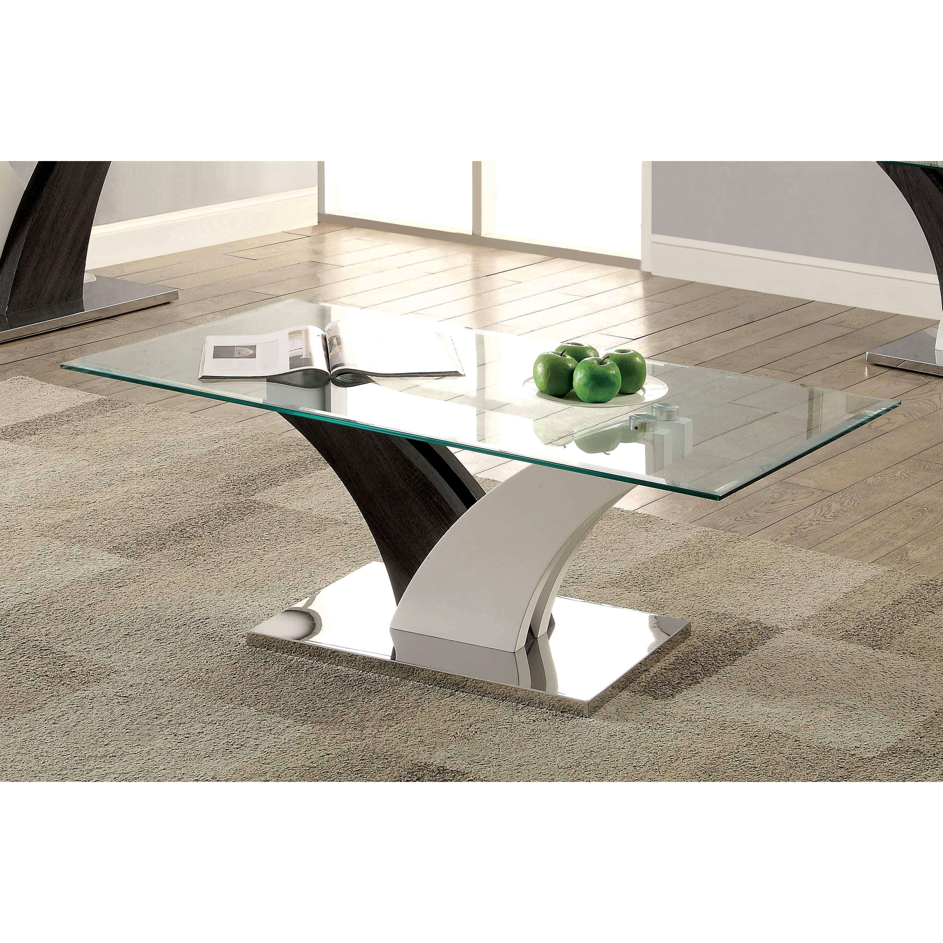 Furniture Of America Bevelen Contemporary Two Tone White/dark Grey Inside Preferred Grey Coffee Tables (View 16 of 20)