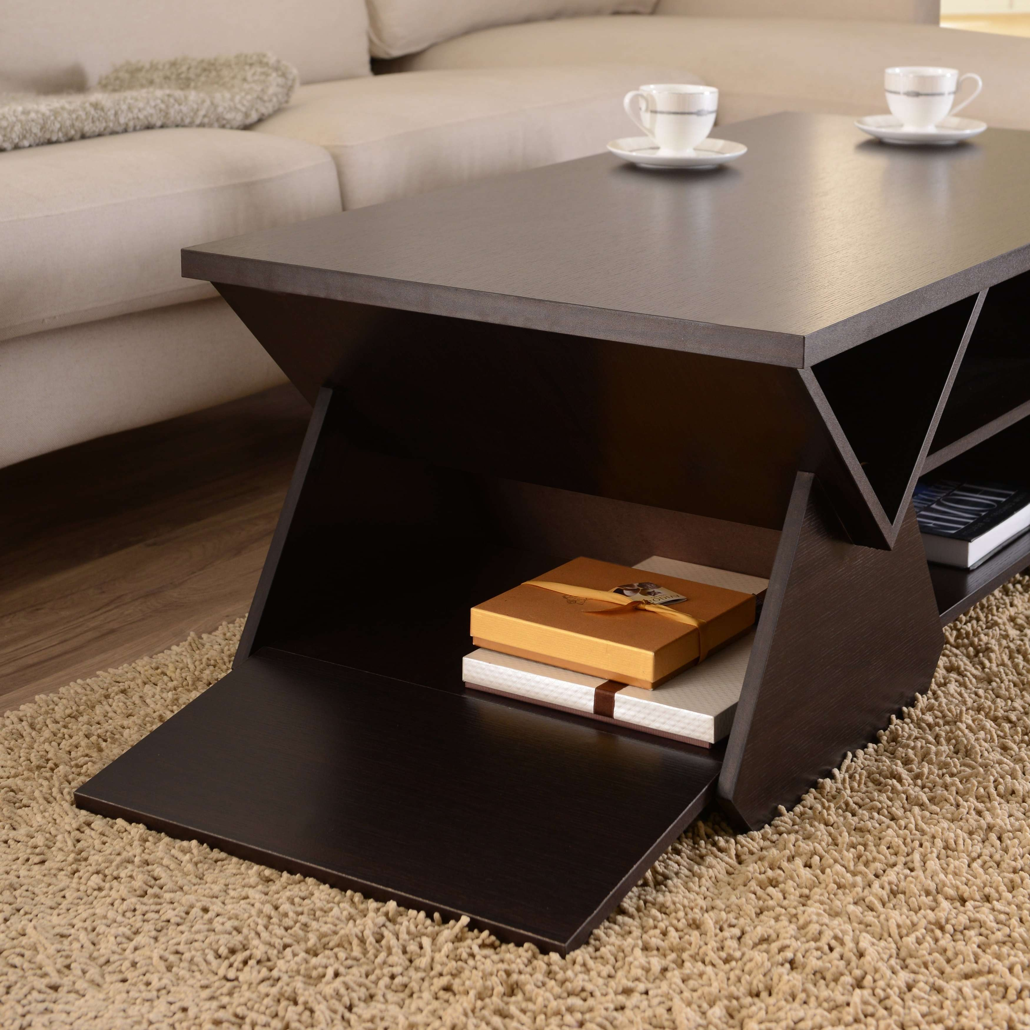 Furniture Of America Melika Espresso Geometric Coffee Table – Free With Regard To Most Recent Desk Coffee Tables (View 6 of 20)