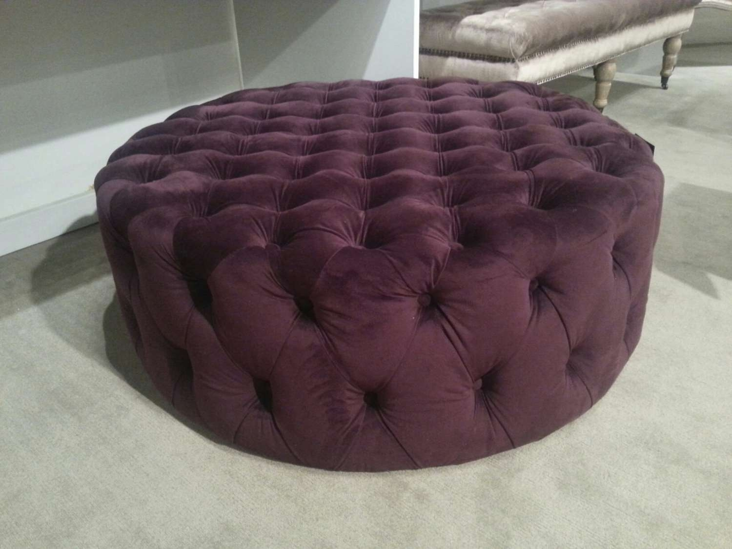 Furniture: Purple Round Tufted Ottoman For Living Room Furniture Ideas Inside Most Recently Released Purple Ottoman Coffee Tables (View 6 of 20)