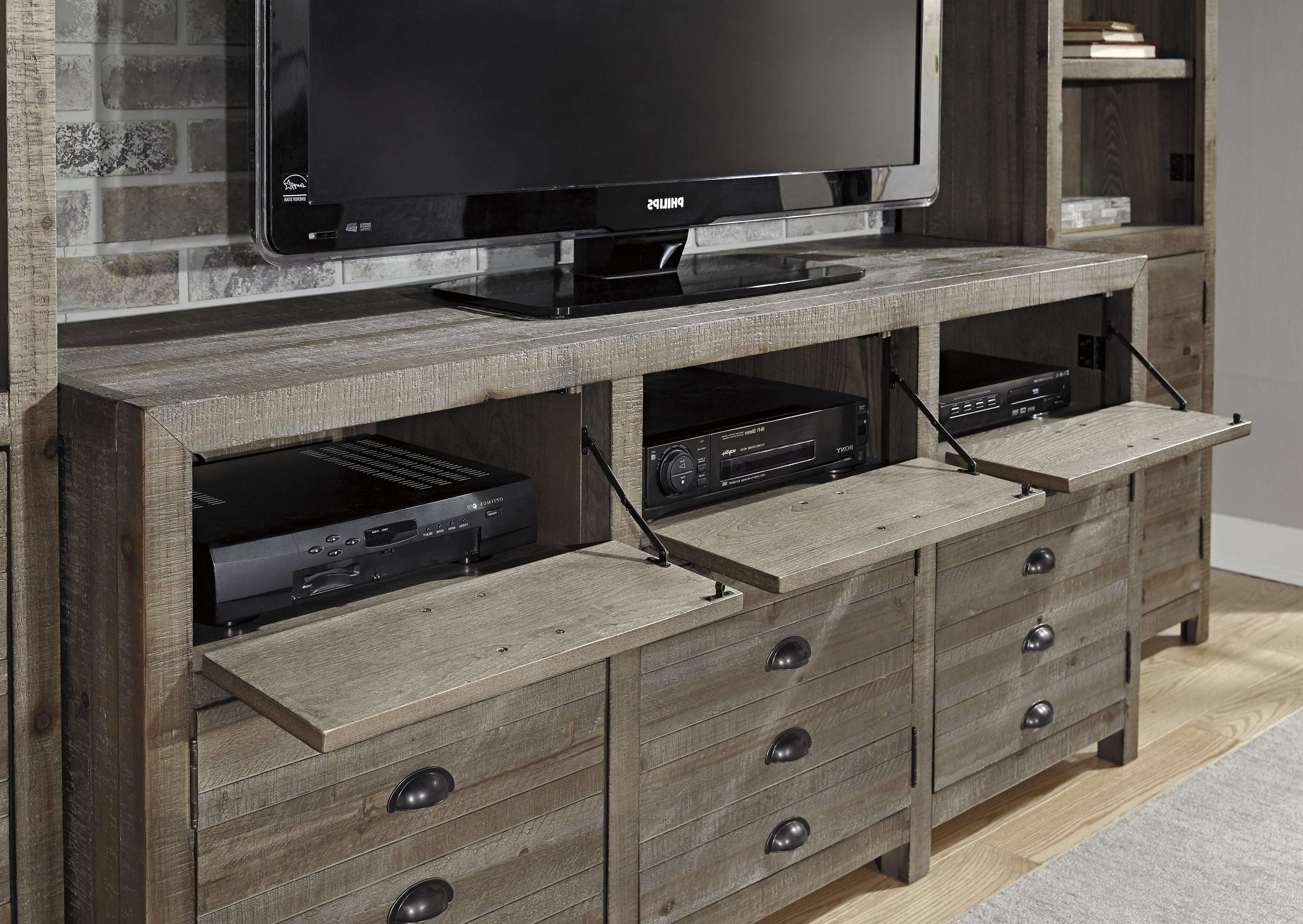 Furniture : Rustic Gray Brown Pine Entertainment Wall Unit In Rustic Tv Cabinets (View 4 of 20)