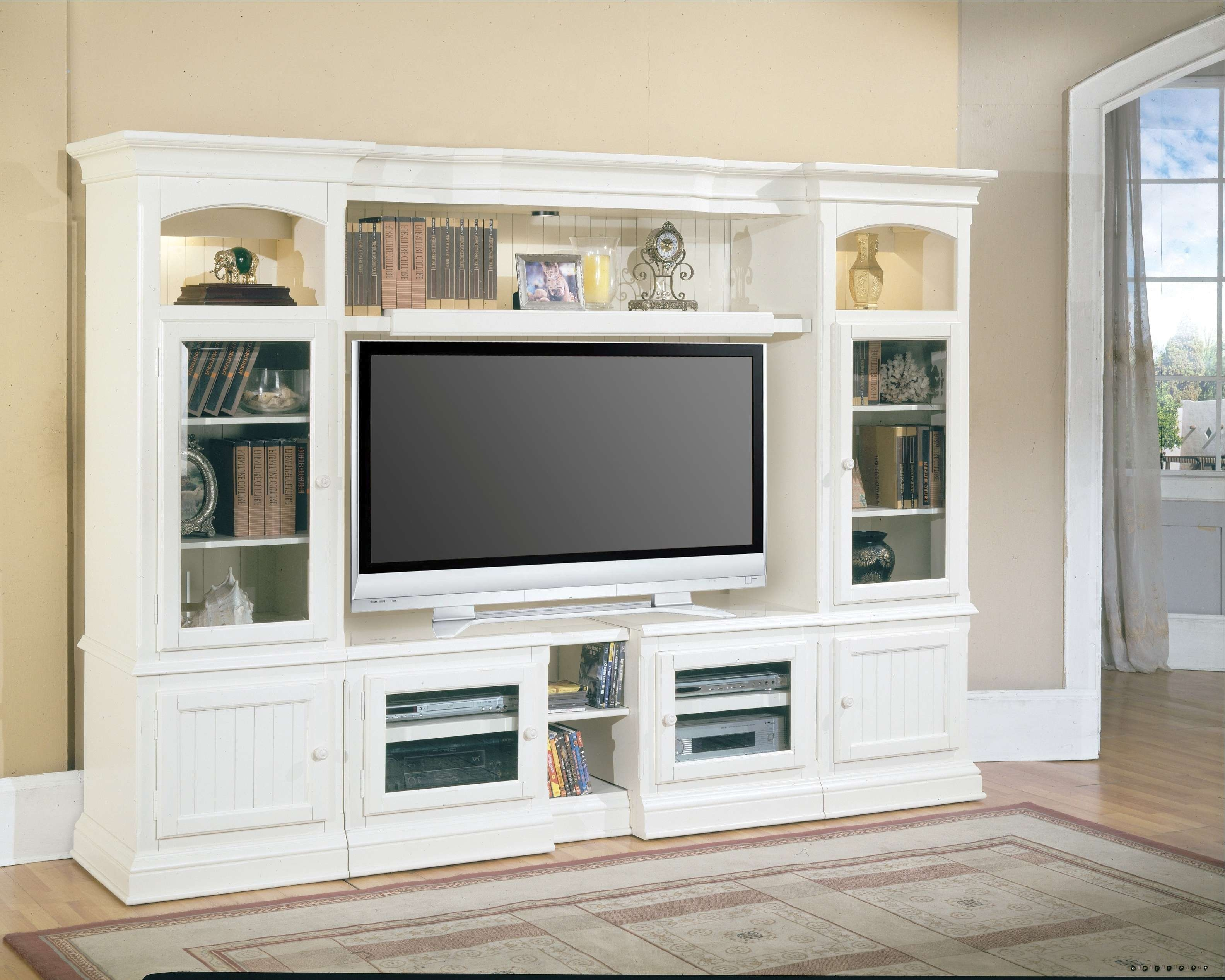 Furniture : Rustic Gray Brown Pine Entertainment Wall Unit Inside Tv Cabinets And Bookcase (View 7 of 20)