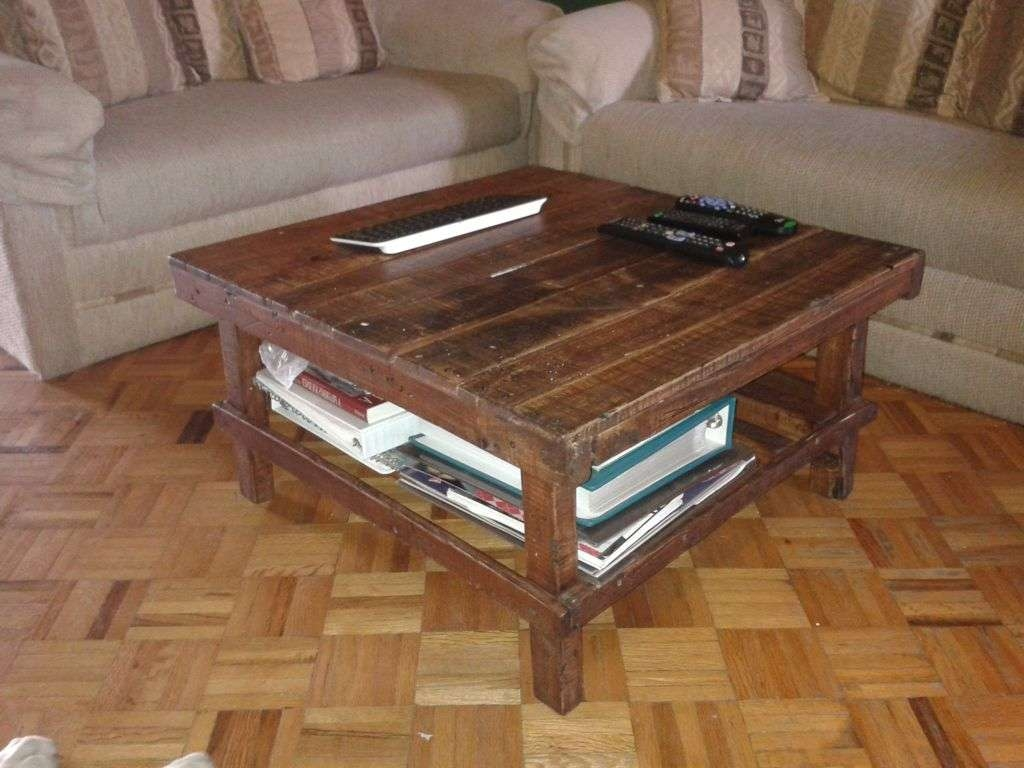 Furniture : Simple Square Brown Wooden Coffee Table With Shelves Intended For Trendy Coffee Tables With Shelf Underneath (View 7 of 20)