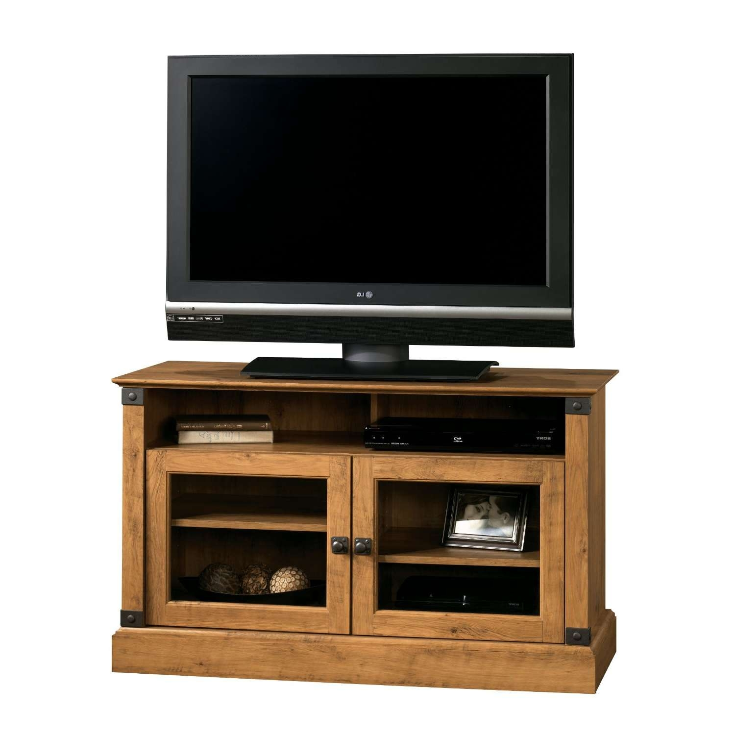 Furniture: Turquoise Reclaimed Wood Tv Stand With Glass Door For With Wooden Tv Cabinets With Glass Doors (View 11 of 20)