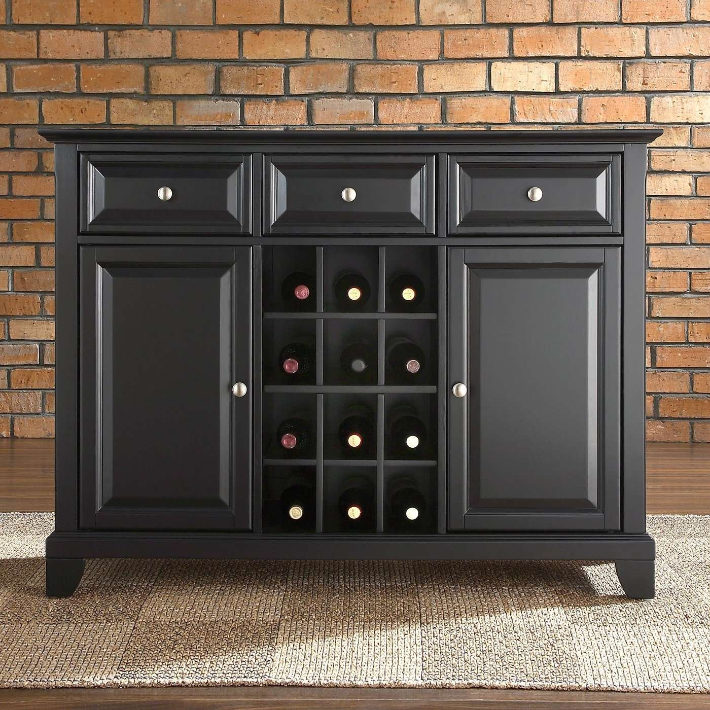 Furniture: Unique White Carpet With Buffet Sideboard And Brick Regarding Black Buffet Sideboards (View 17 of 20)