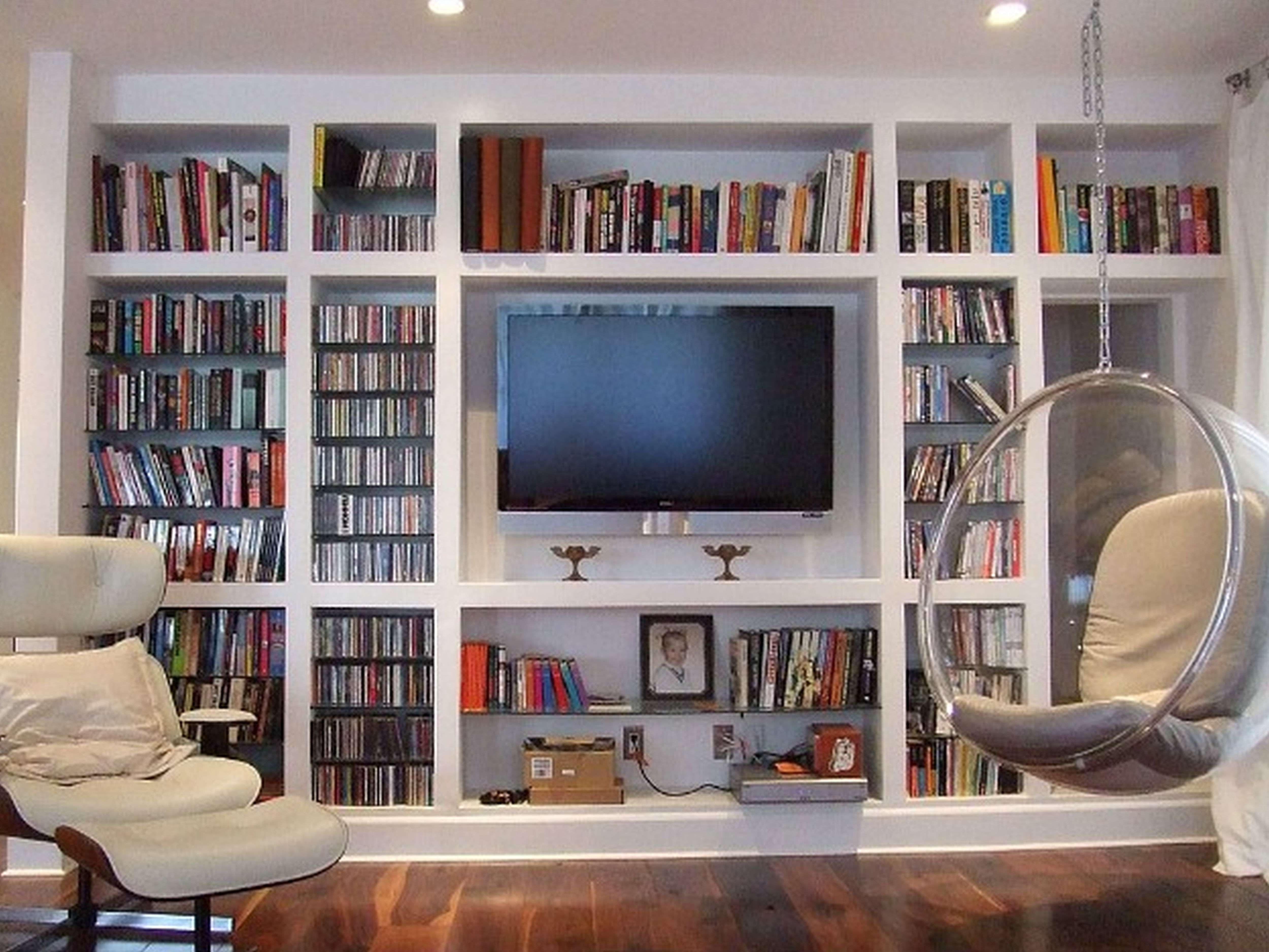 Furniture Wall Mount Bookshelves With Wood Ladder And Built In Tv Intended For Tv Cabinets And Bookcase (View 8 of 20)