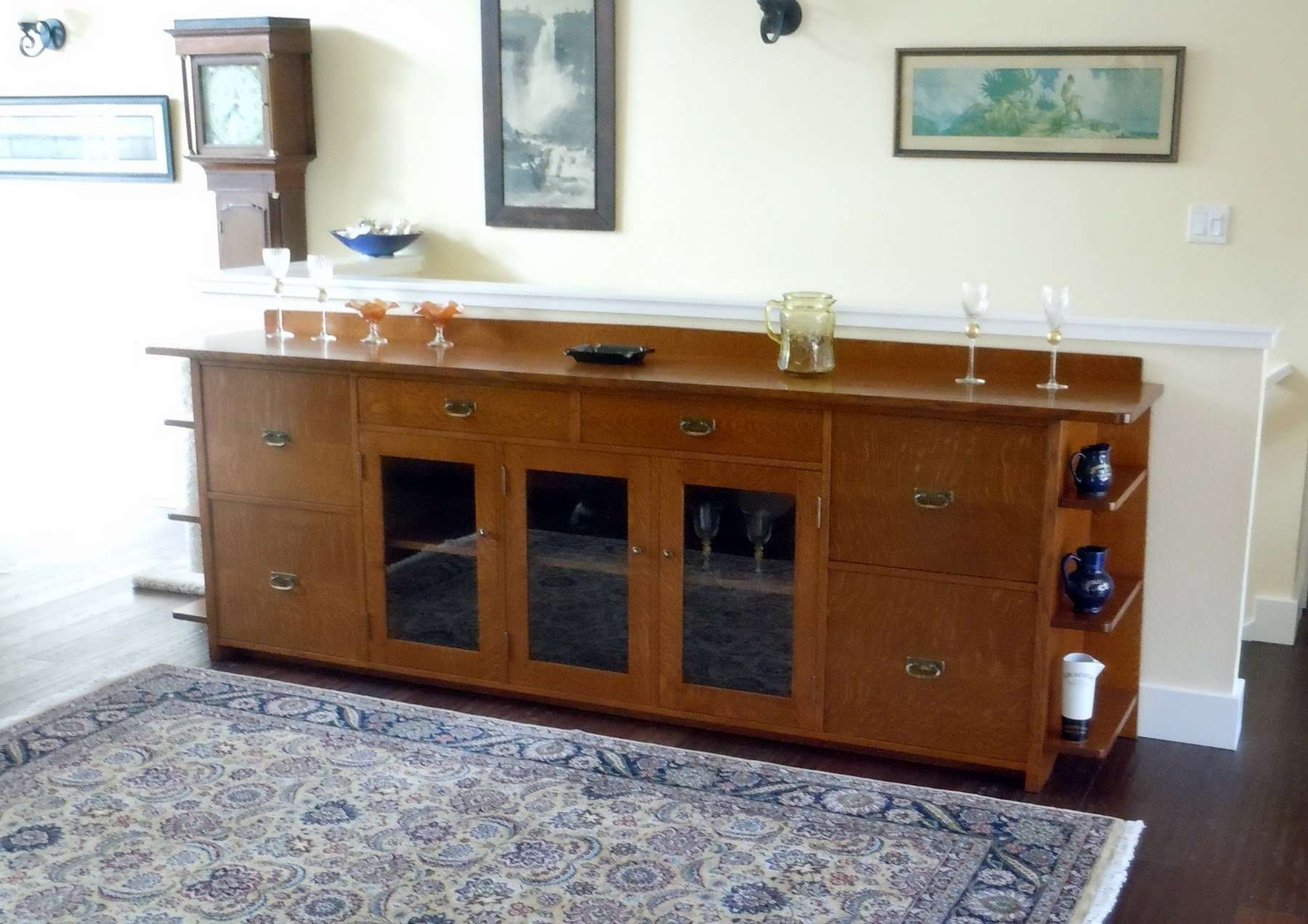Furniture: White Sideboard Buffet With Two Drawers And Glass Door Inside Glass Door Buffet Sideboards (View 6 of 20)