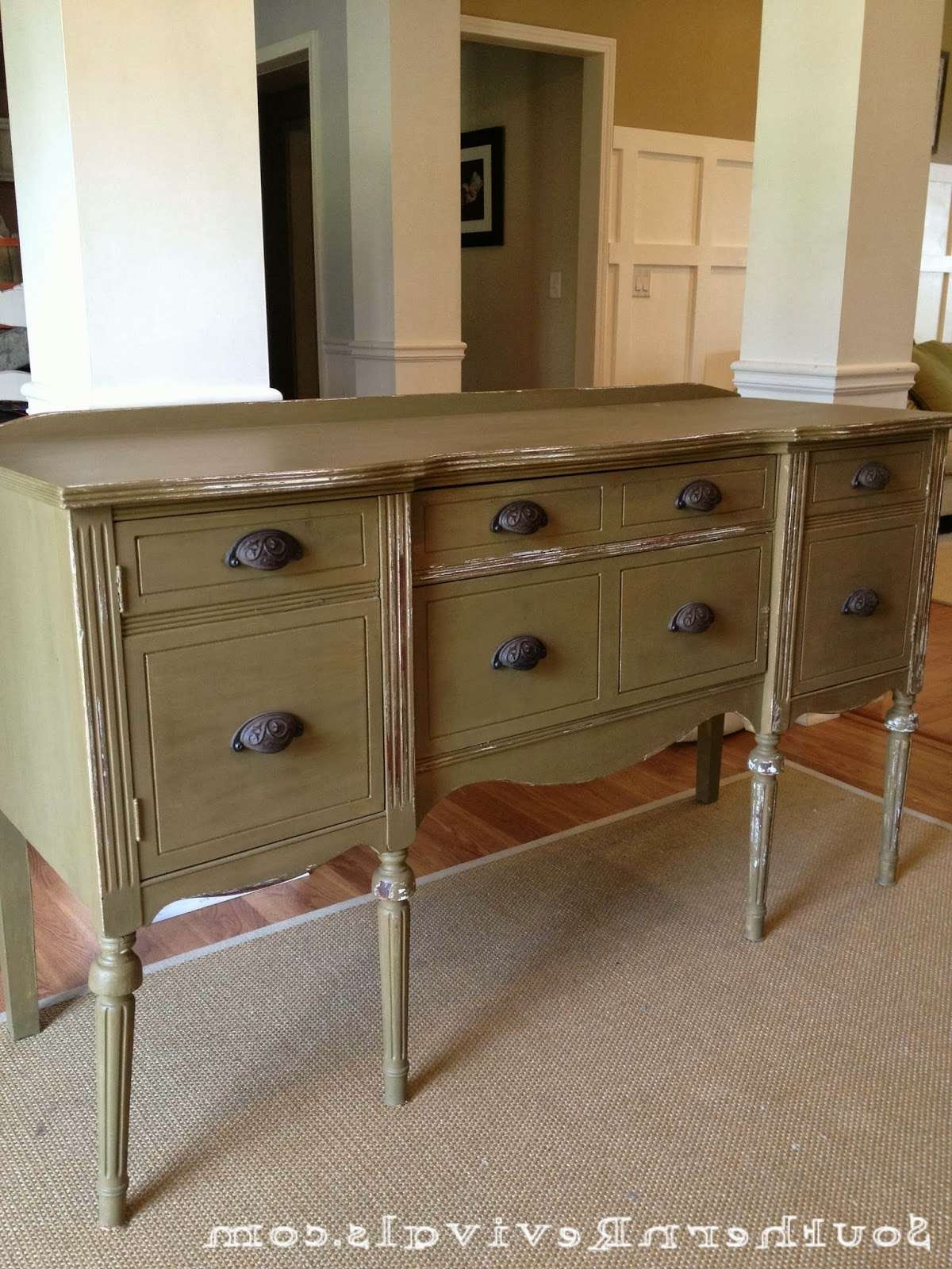 Furniture: White Sideboard Buffet With Two Drawers And Glass Door Intended For Narrow Sideboards And Buffets (View 9 of 20)