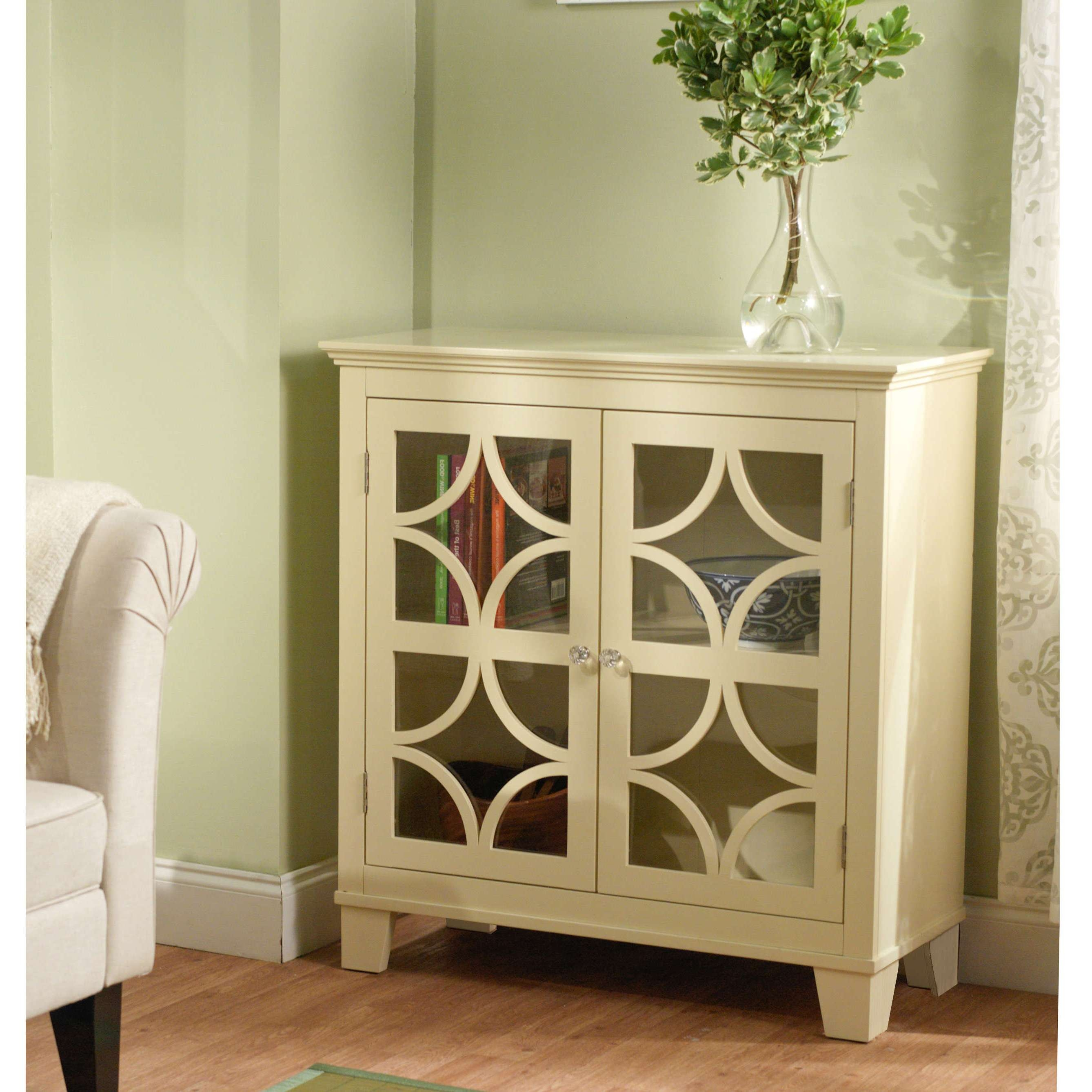 Furniture: White Sideboard Buffet With Two Drawers And Glass Door With Regard To White Sideboards With Glass Doors (View 8 of 20)