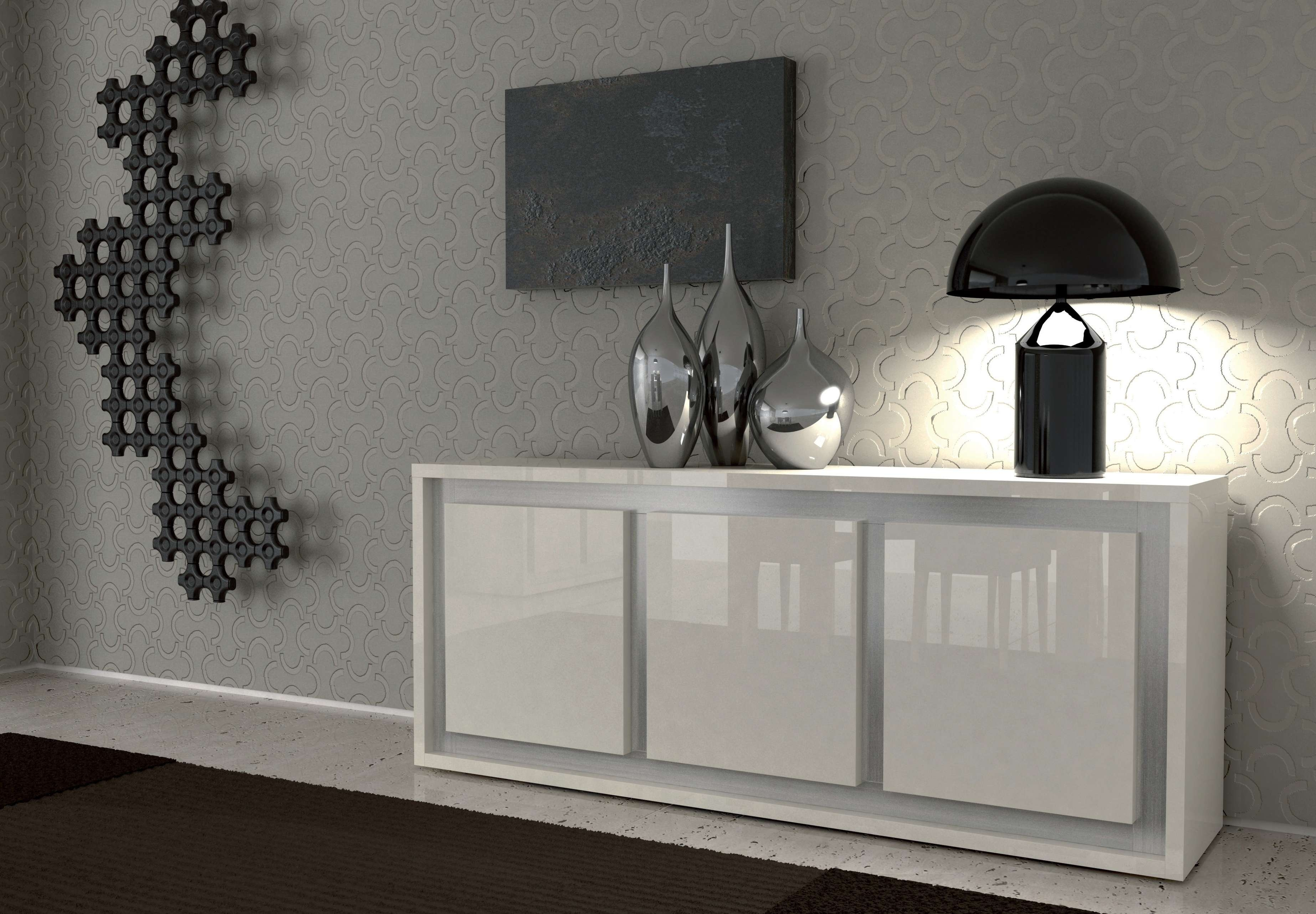 Furniture: White Sideboard Buffet With Unique Black Table Lamp And In Modern Buffet Sideboards (View 15 of 20)