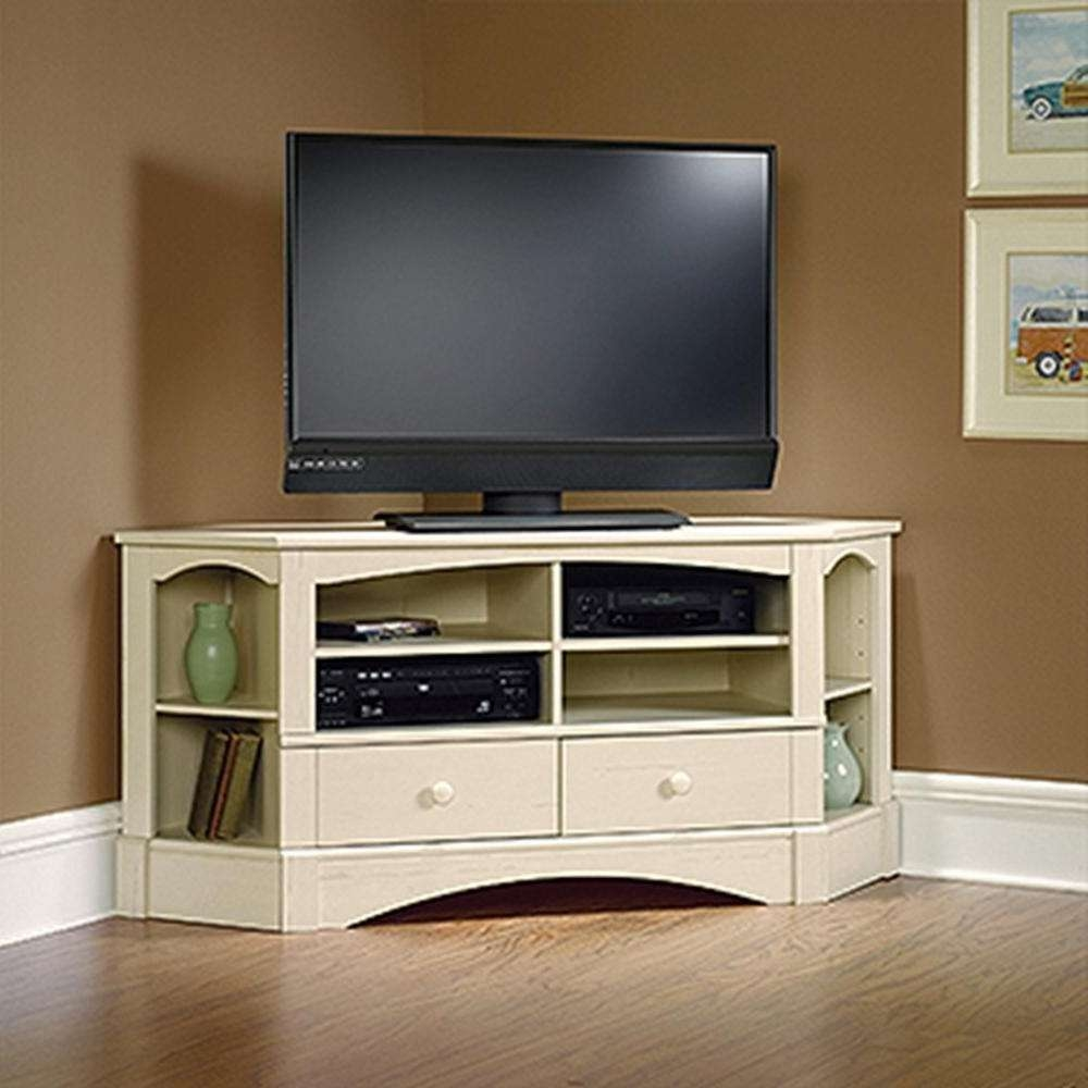 Furnitures: Sauder Tv Stand | Sauder Vinegate Tv Stand | Corner Tv Pertaining To Corner Tv Cabinets With Hutch (View 5 of 20)