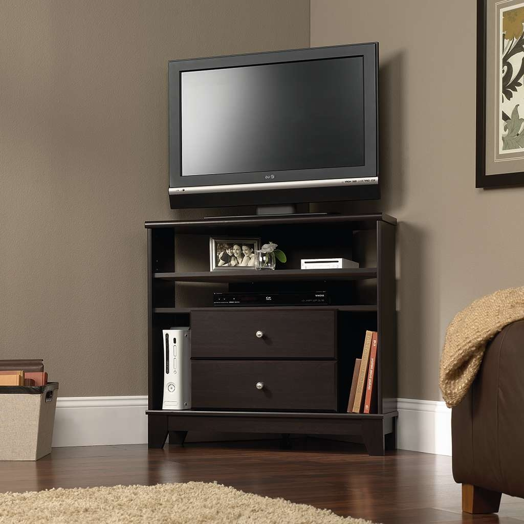 Furnitures: Sauder Tv Stand | Tv Stand Entertainment Console With Throughout Corner Tv Cabinets With Hutch (View 14 of 20)