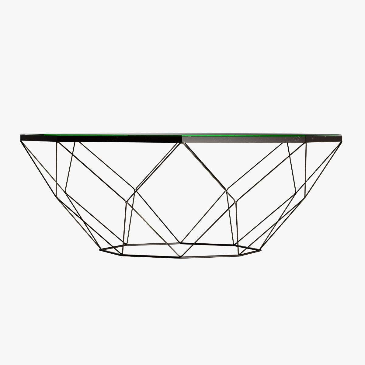 Geometric Antique Brass Coffee Table With Glass Top 3D Model Max In Most Recently Released Antique Glass Coffee Tables (View 9 of 20)