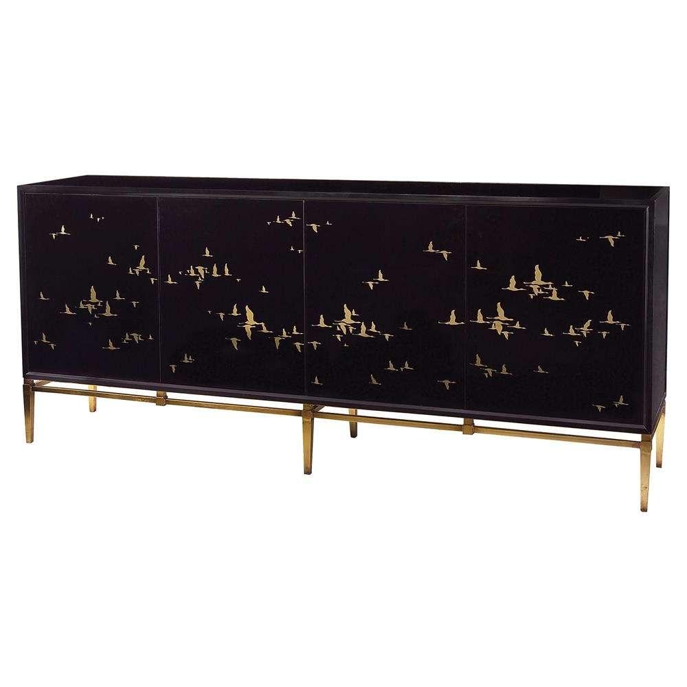 Geraldine Regency Black Glass Gold Bird Credenza Sideboard | Kathy For Credenza Sideboards (Gallery 19 of 20)