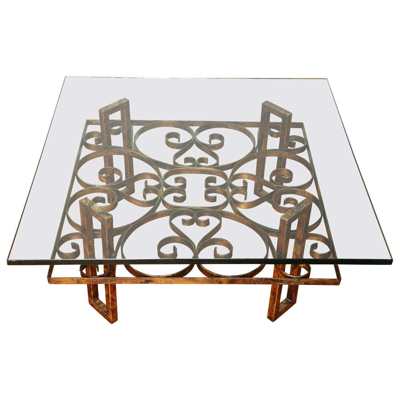 Gilded Wrought Iron Square Coffee Table With Scroll Motif Glass For Most Up To Date Wrought Iron Coffee Tables (View 5 of 20)