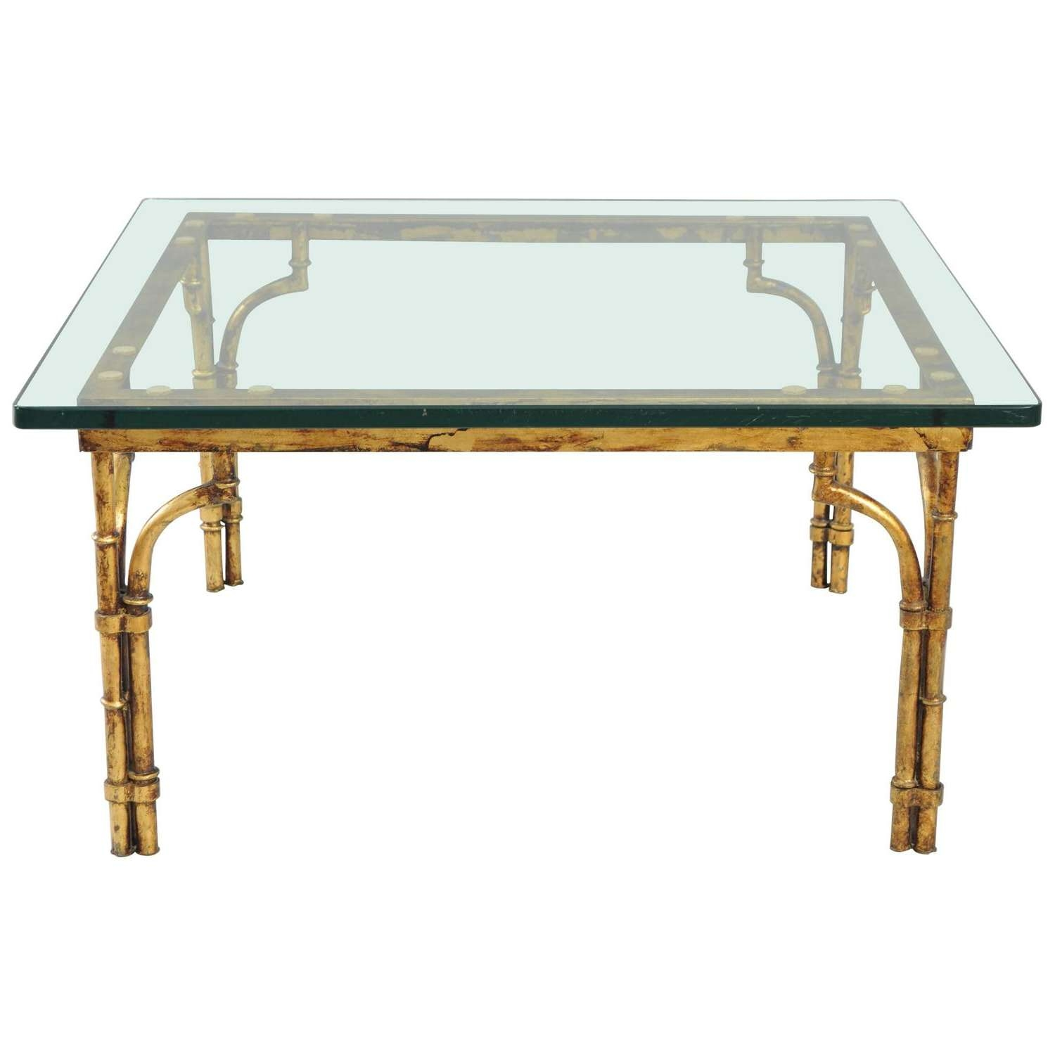 Gilt Faux Bamboo And Palm Leaf Cocktail Table At 1Stdibs In Popular Gold Bamboo Coffee Tables (View 8 of 20)
