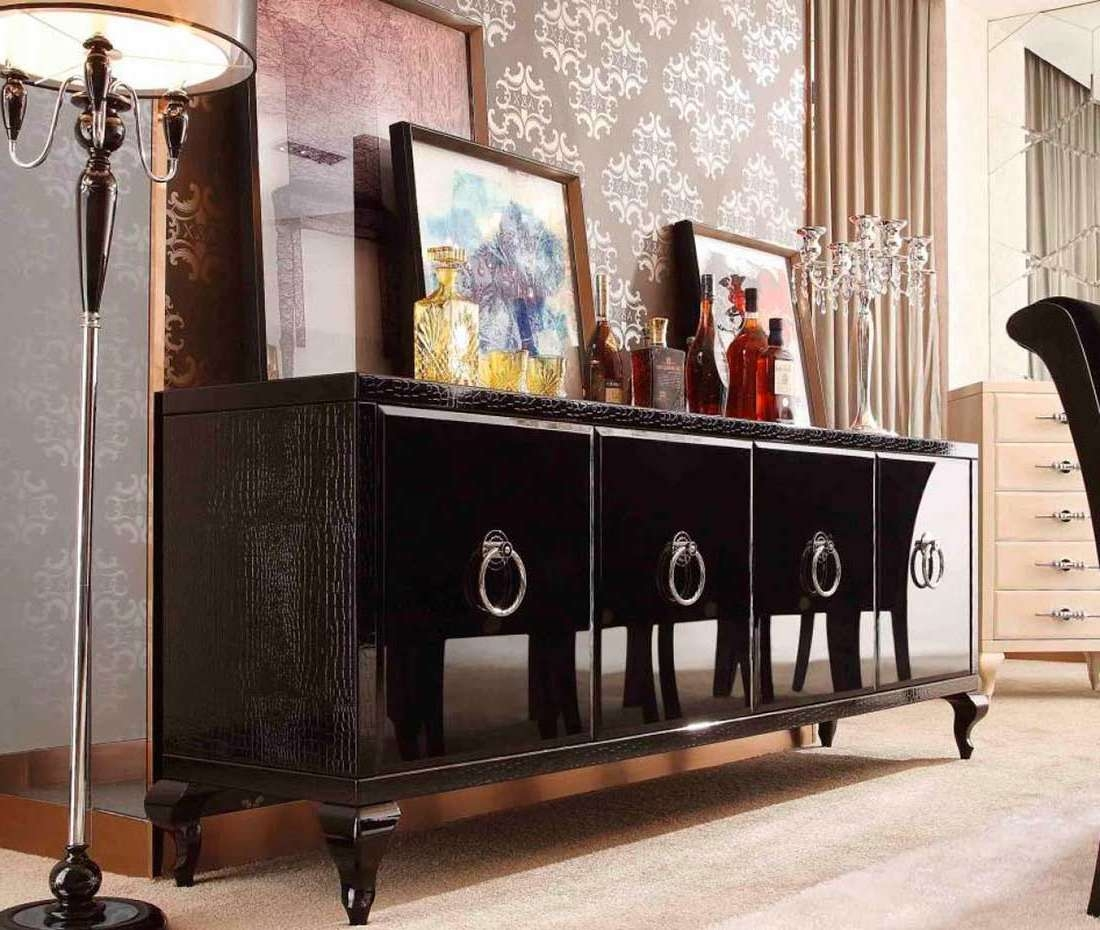 Glamour Black Sideboard | Modern Buffets Stations For Black Sideboards And Buffets (View 7 of 20)